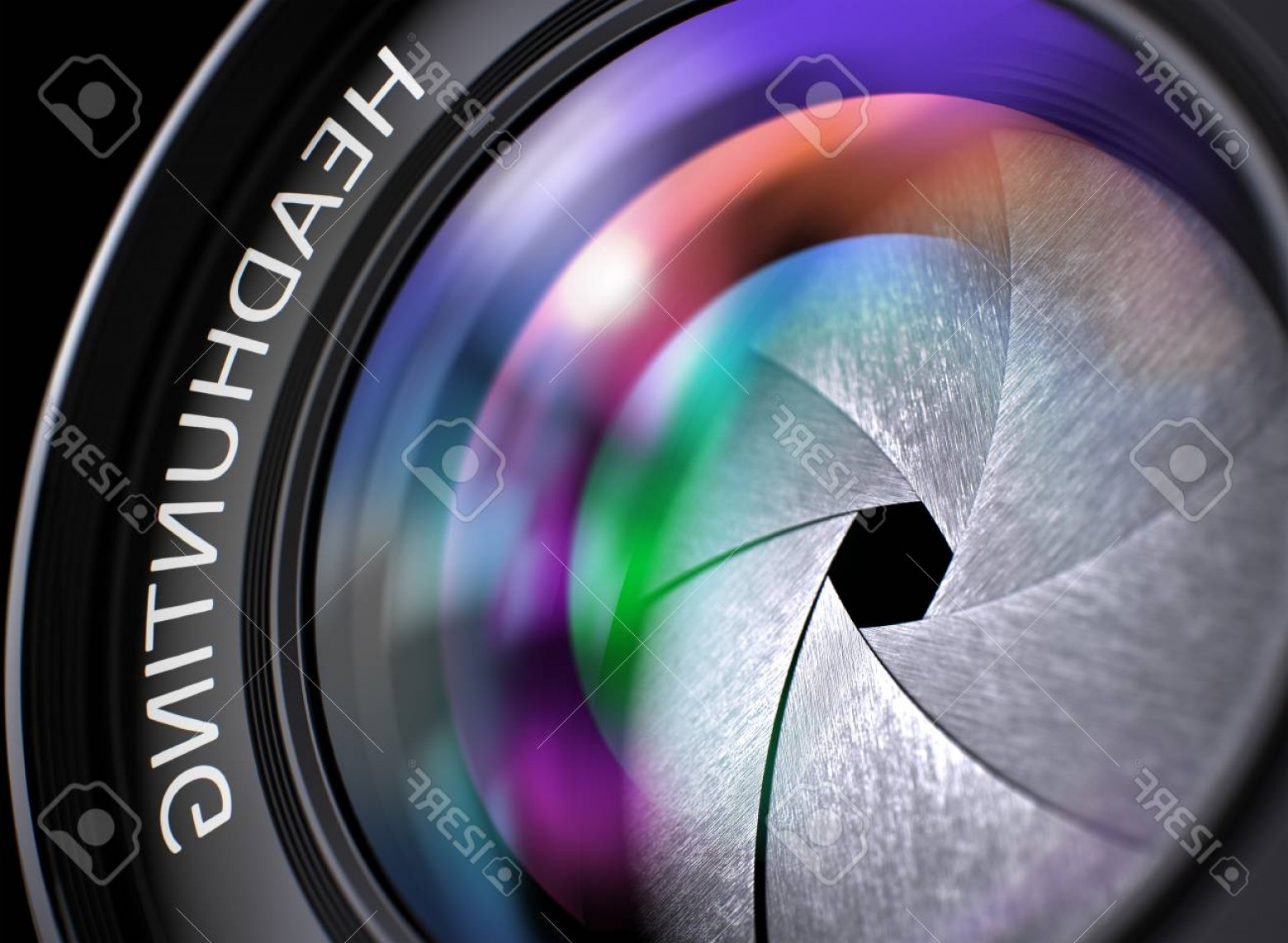 Hires Camera Lens Vector: Photoheadhunting Text On Front Of Camera Lens With Colored Light Of Reflection Closeup View Digital Camer