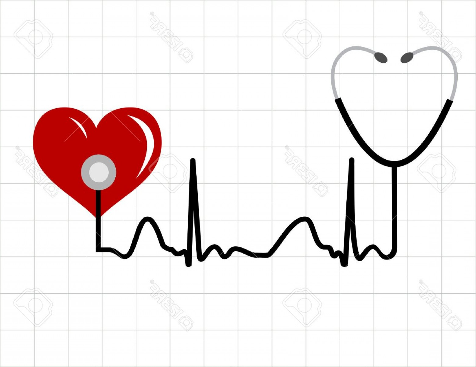Stethoscope With Heart Vector Art: Photoheart And A Medical Stethoscope With Heartbeat Pulse Symbol