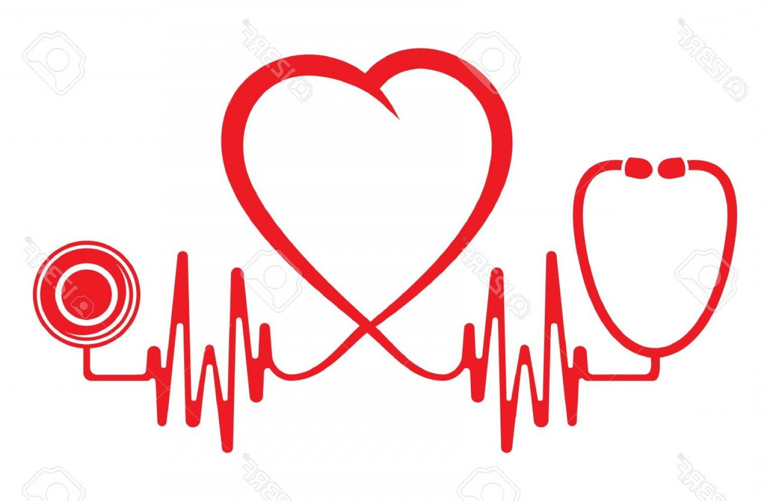 Stethoscope With Heart Vector Art: Photoheart Shape Ecg Line With Stethoscope