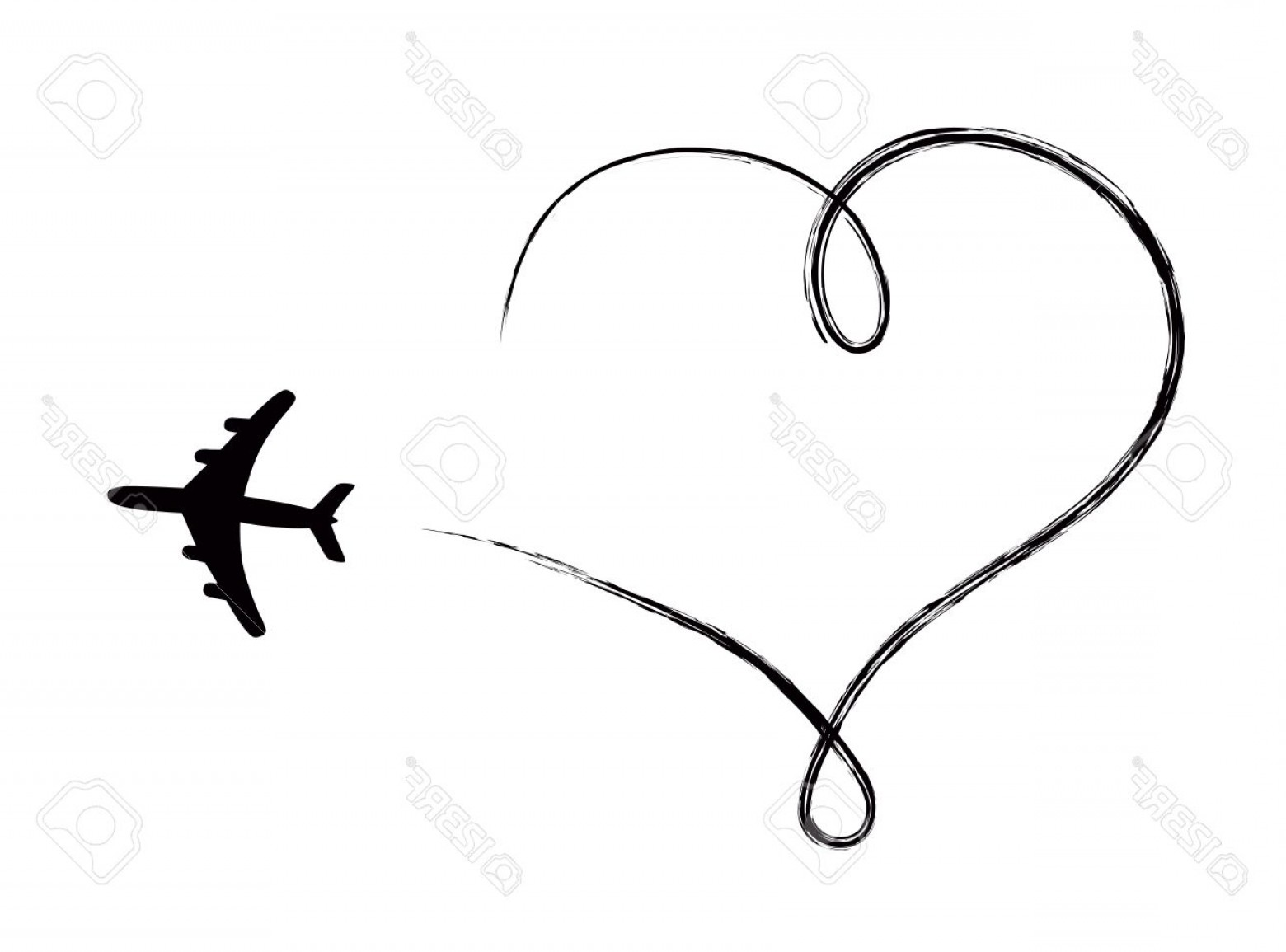 Black Heart And Plane Vector: Photoheart Shaped Icon In Air Made By Plane
