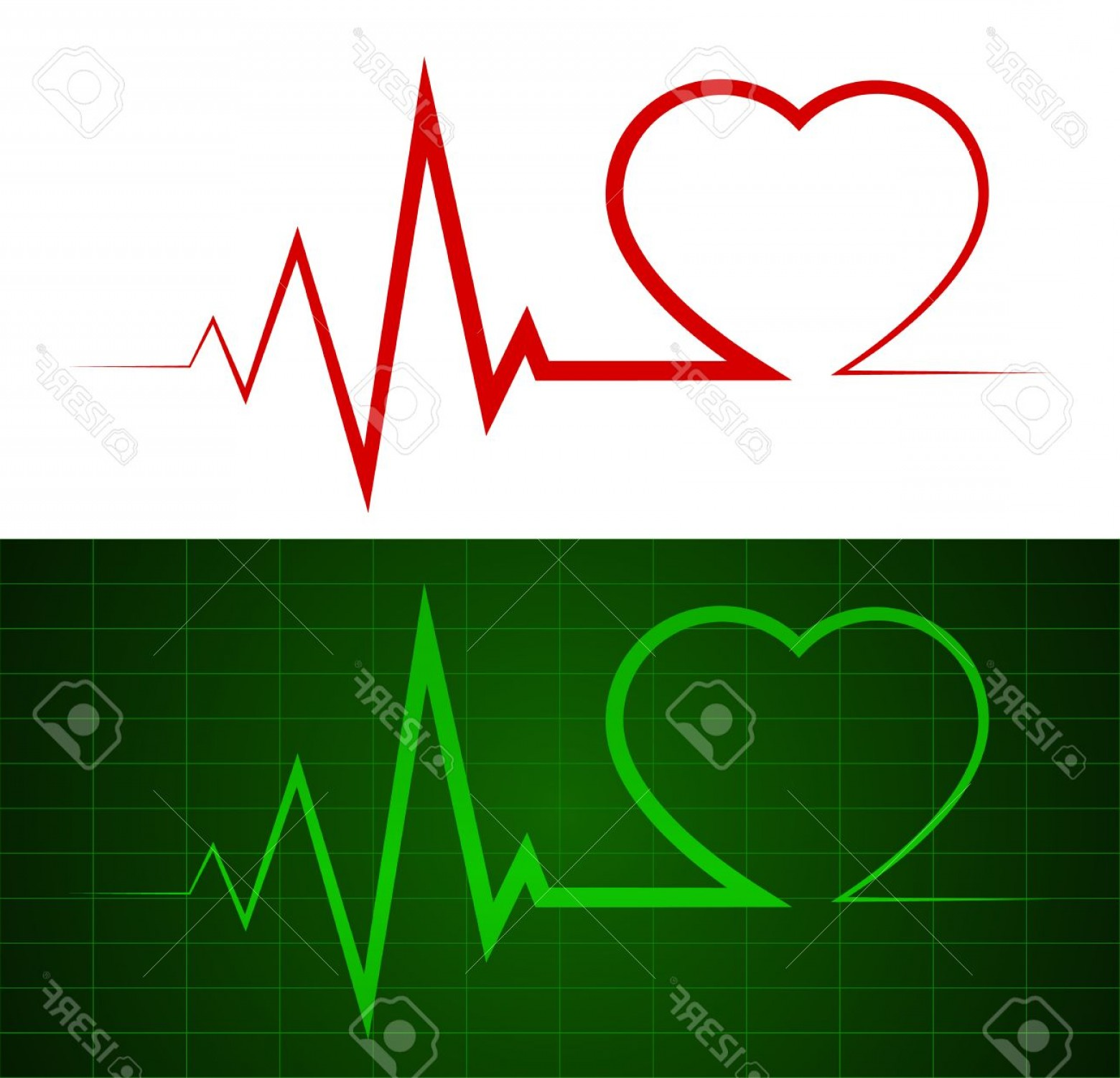 Heart With EKG Line Vector: Photoheartbeat Ekg Line Illustrations Symbol Background