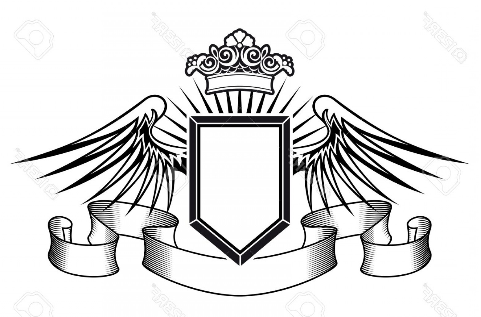 Shield Vector Ribbon: Photoheraldry Shield With Angel Wings Ribbons And Crown