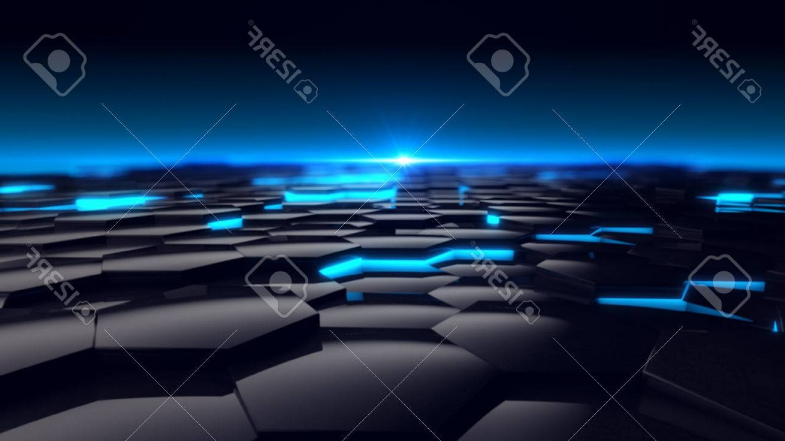 Futuristic Render Vector Graphics: Photohexagon Blue Glow Background Futuristic D Render