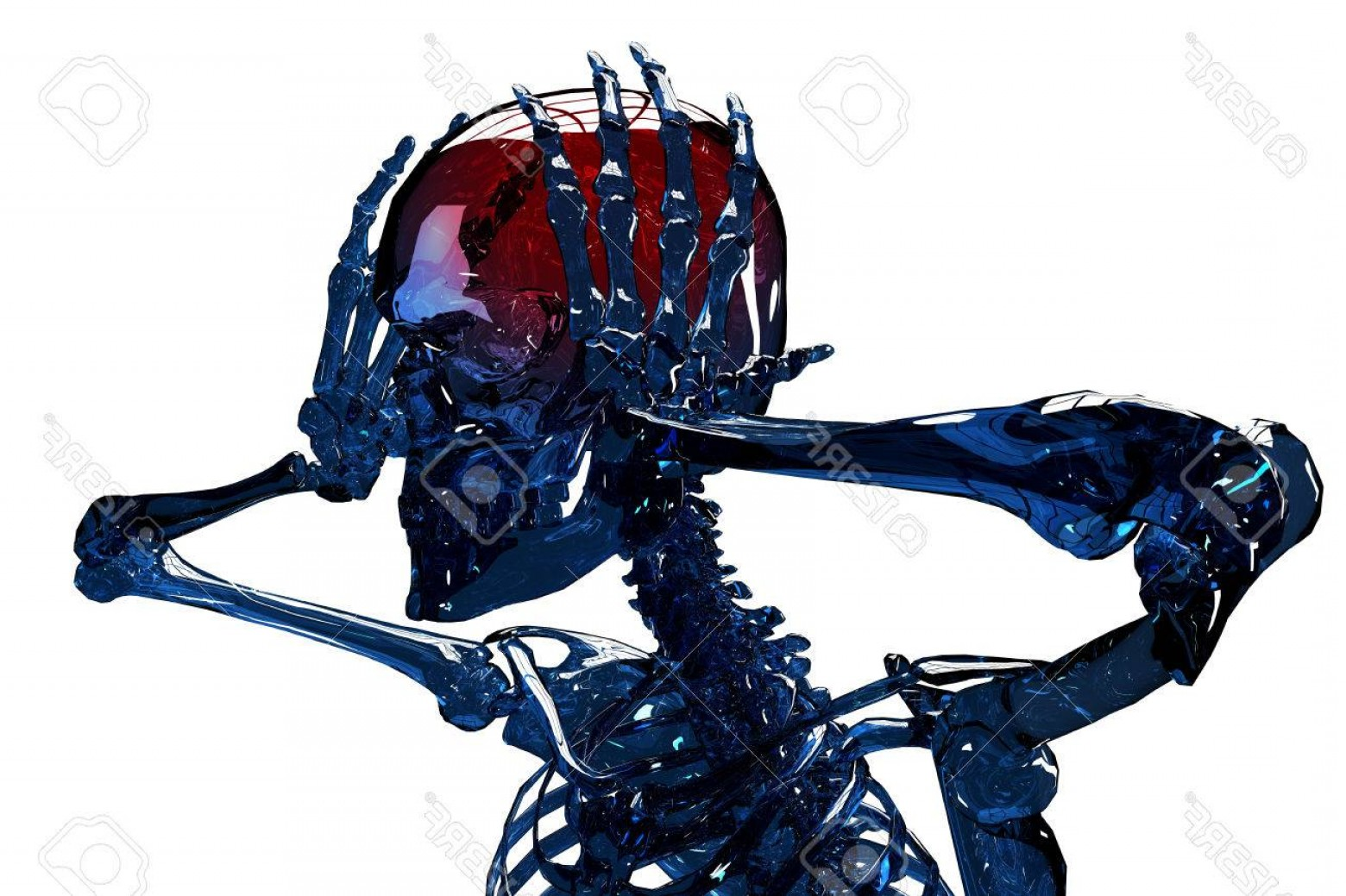 Hi Res Vector Human Skeleton: Photohigh Resolution D Concept Of Human Skeleton With Terrible Headpain Isolated On White