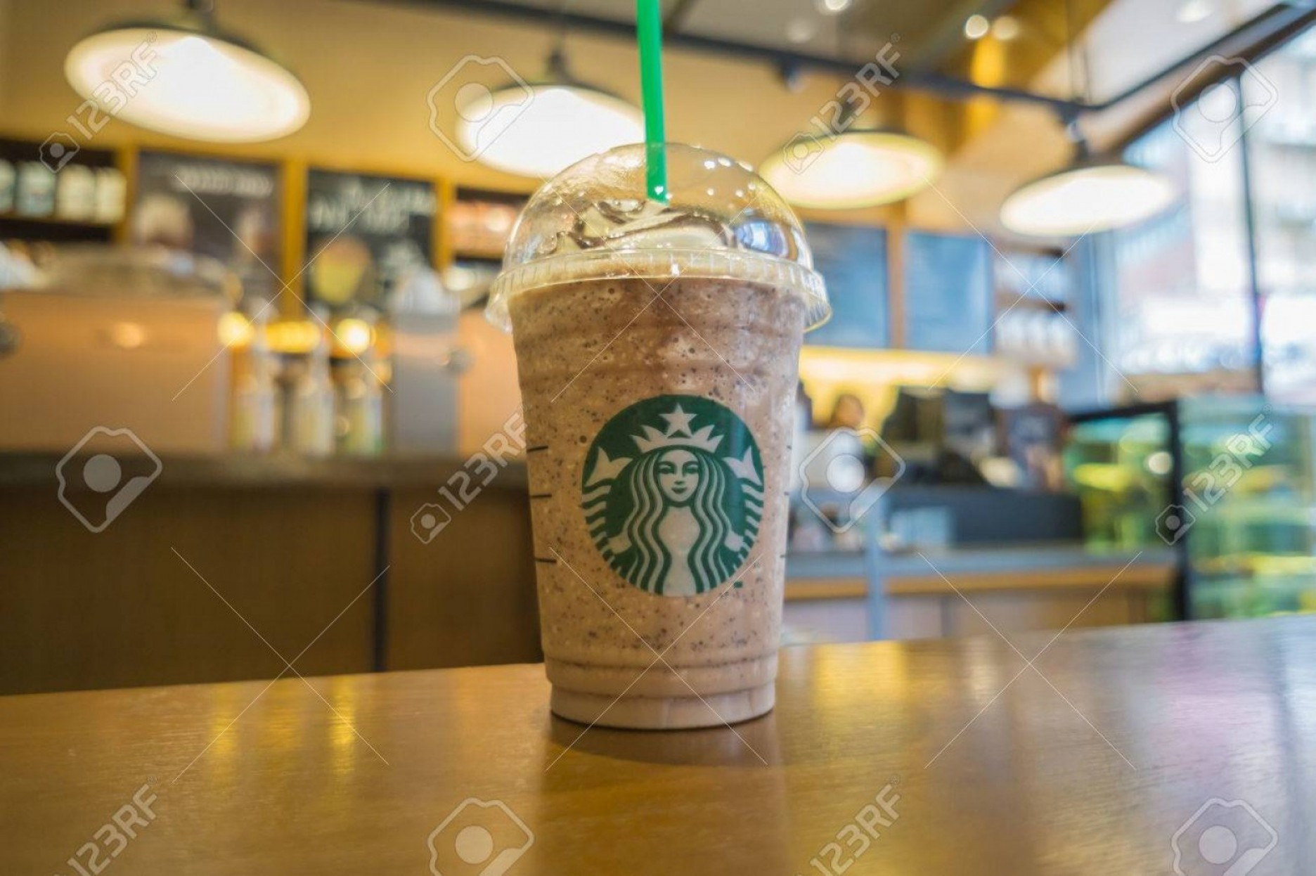 Starbucks China Vector: Photohongkong China October Glass Of Fresh Starbucks Coffee Frappuccino Blended Beverages Wood Table I