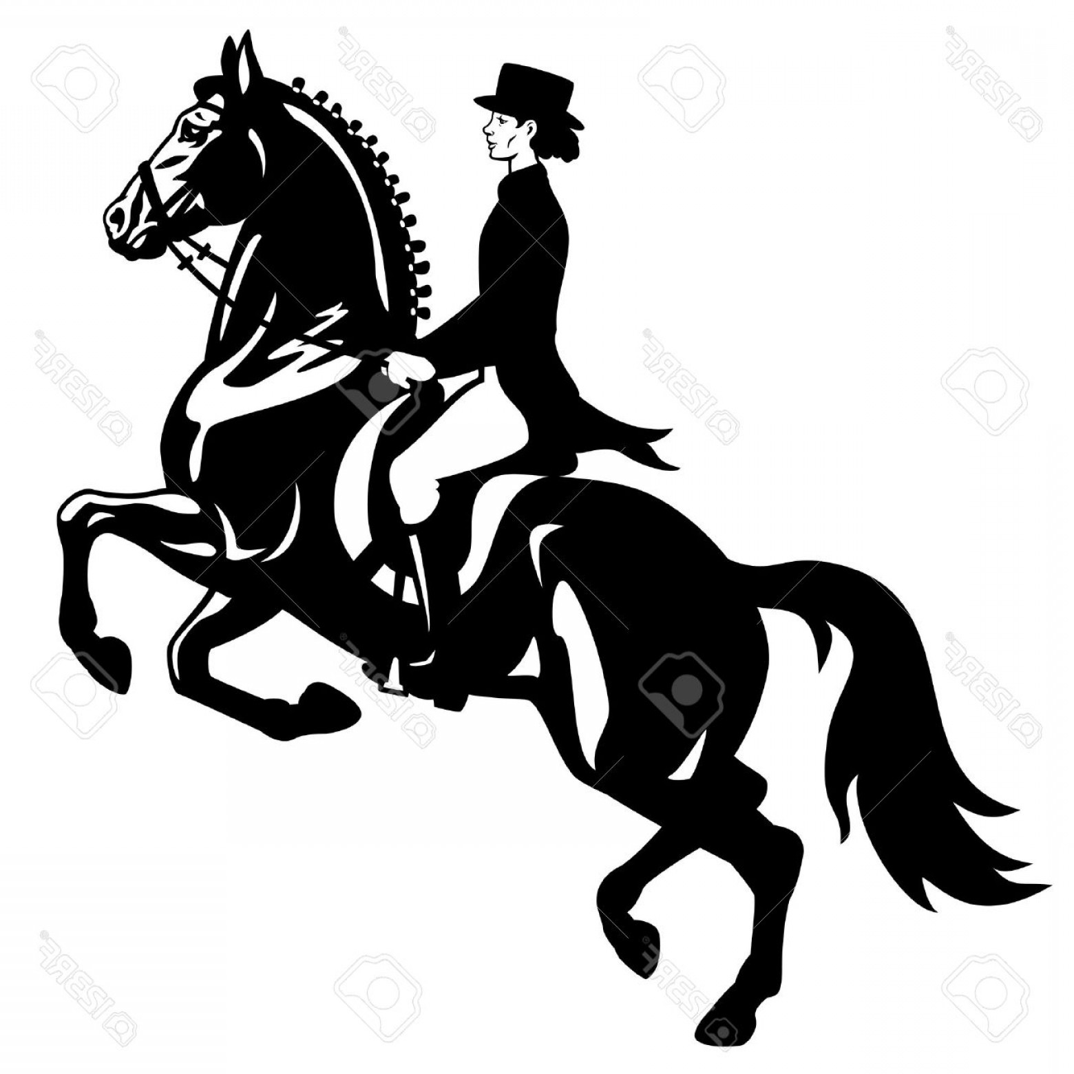Horse And Rider Vector Art: Photohorse Rider Dressage Equestrian Sport Vector Image Isolated On White Background Side View Picture
