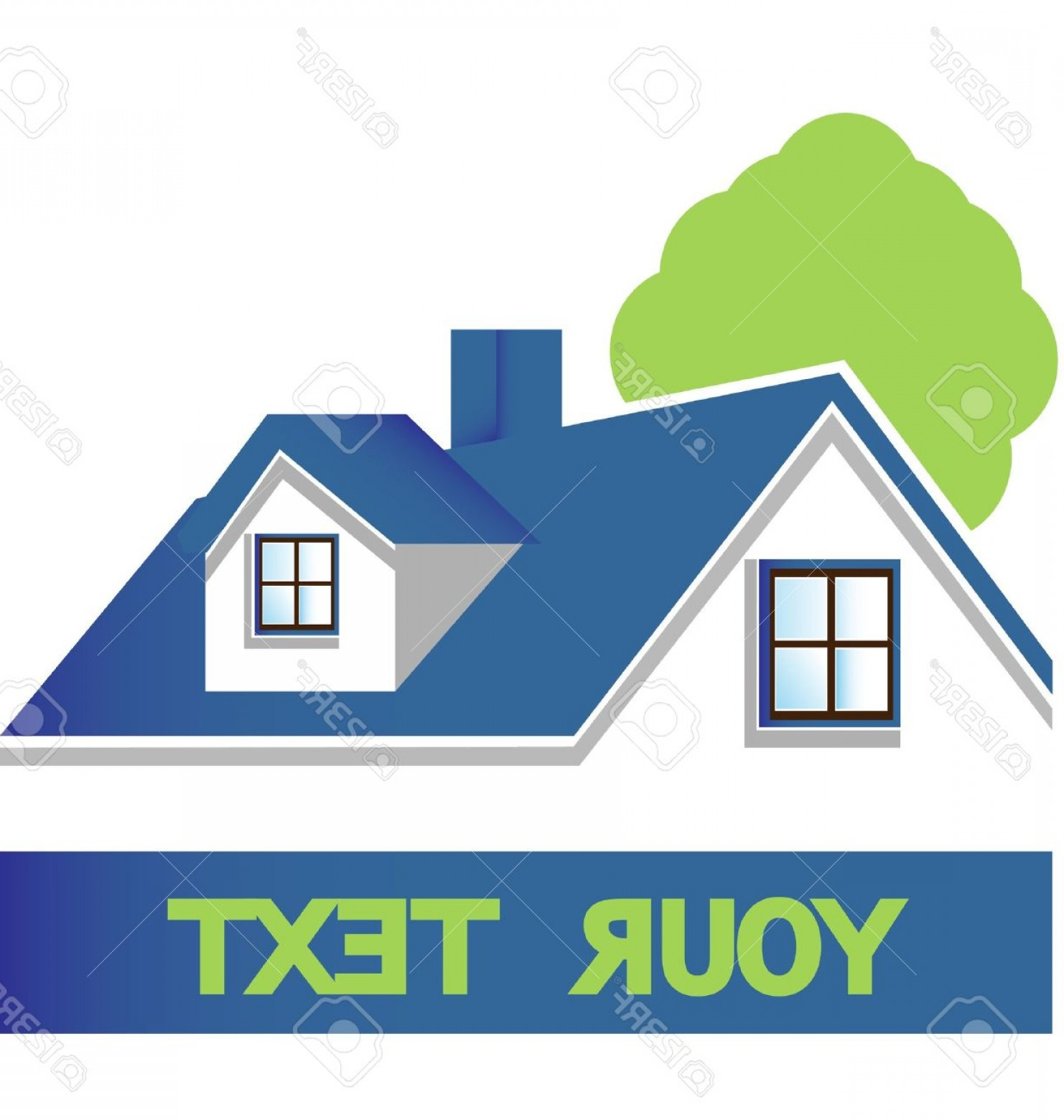 Home Logo Vector: Photohouse With Tree Logo Vector Eps