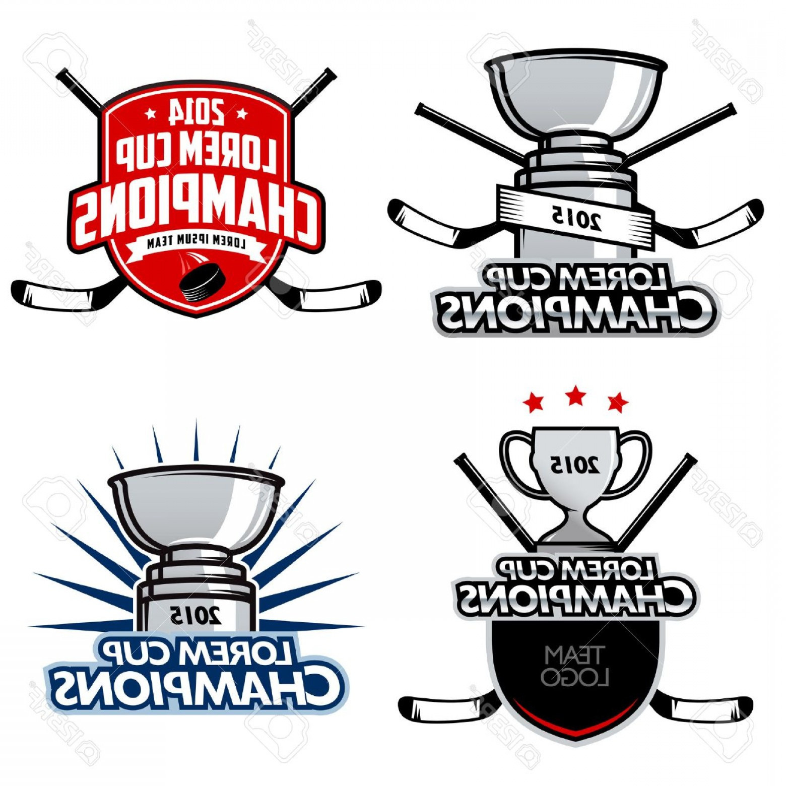 Ice Champions Cup Vector: Photoice Hockey Cup Champions Labels Badges And Design Elements
