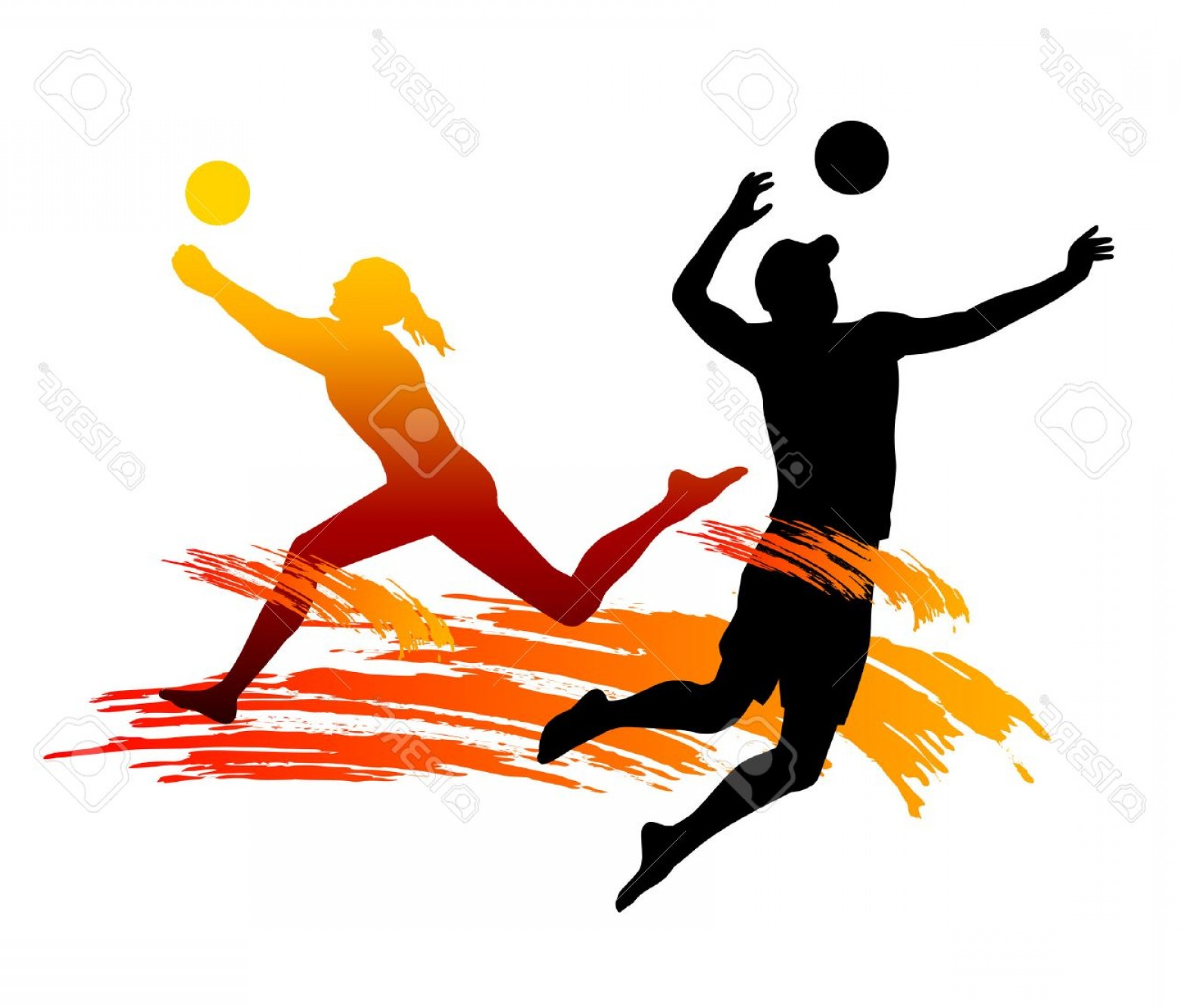 Volleyball Player Vector: Photoillustration Beach Volleyball Player With Elements