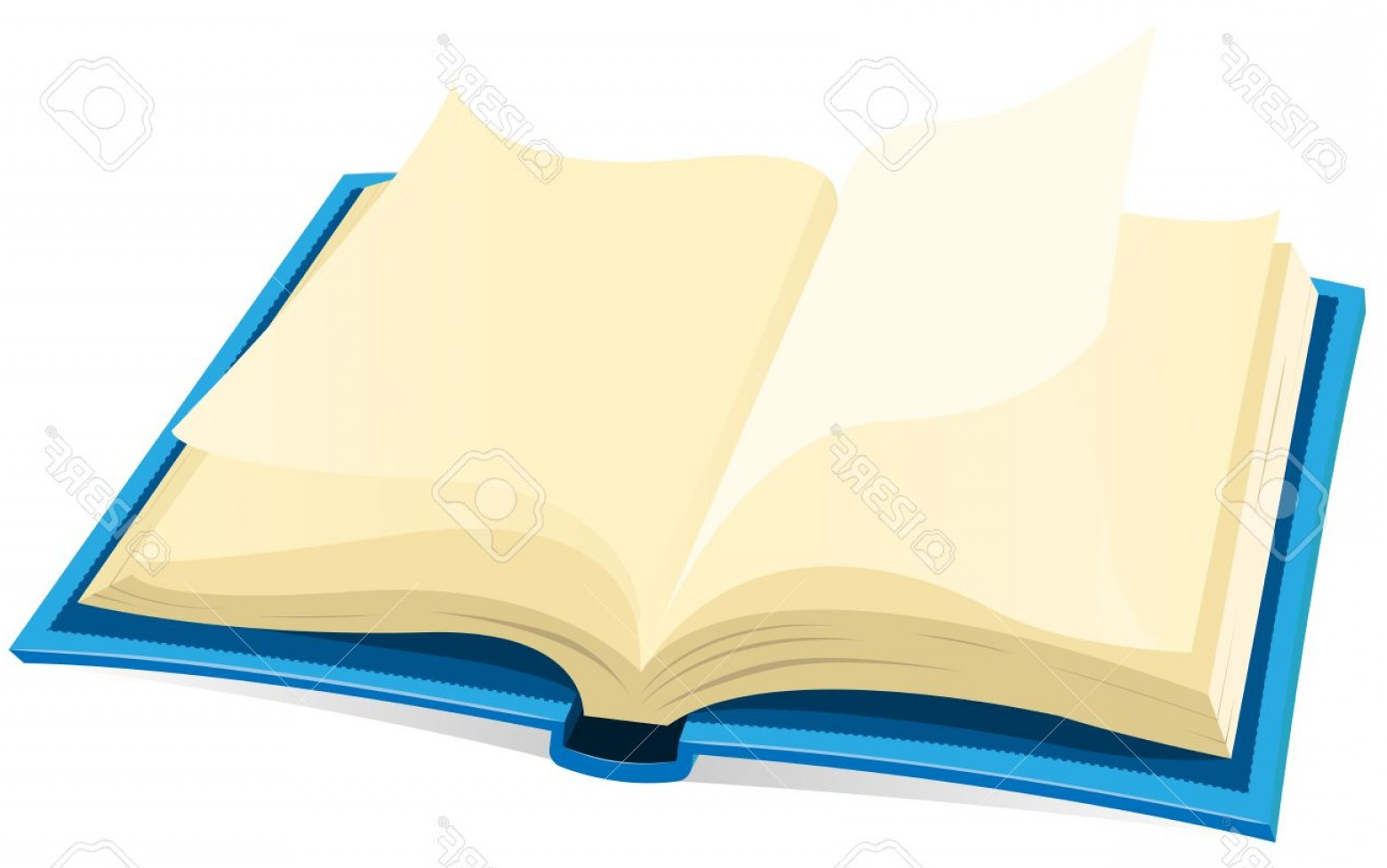 Cartoon Blank Open Book Vector: Photoillustration Of A Blue Covered Open Book With Blank Pages