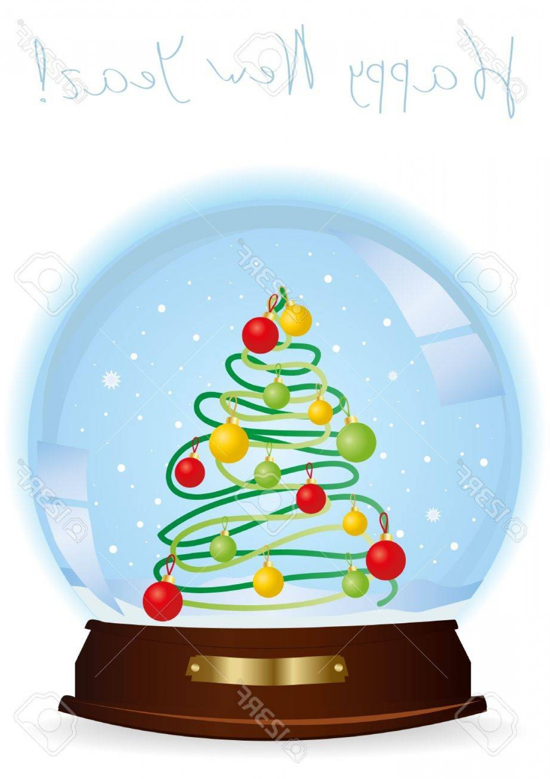 3 Glass Christmas Bulb Vector: Photoillustration Of A Snow Globe With A Decorated Christmas Tree And The Inscription Above