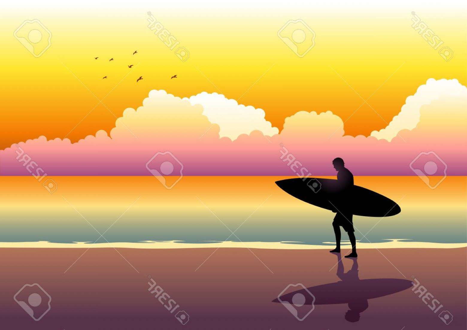 Surfer Beach Sunset Vector: Photoillustration Of A Surfer Walking At The Beach During Sunset