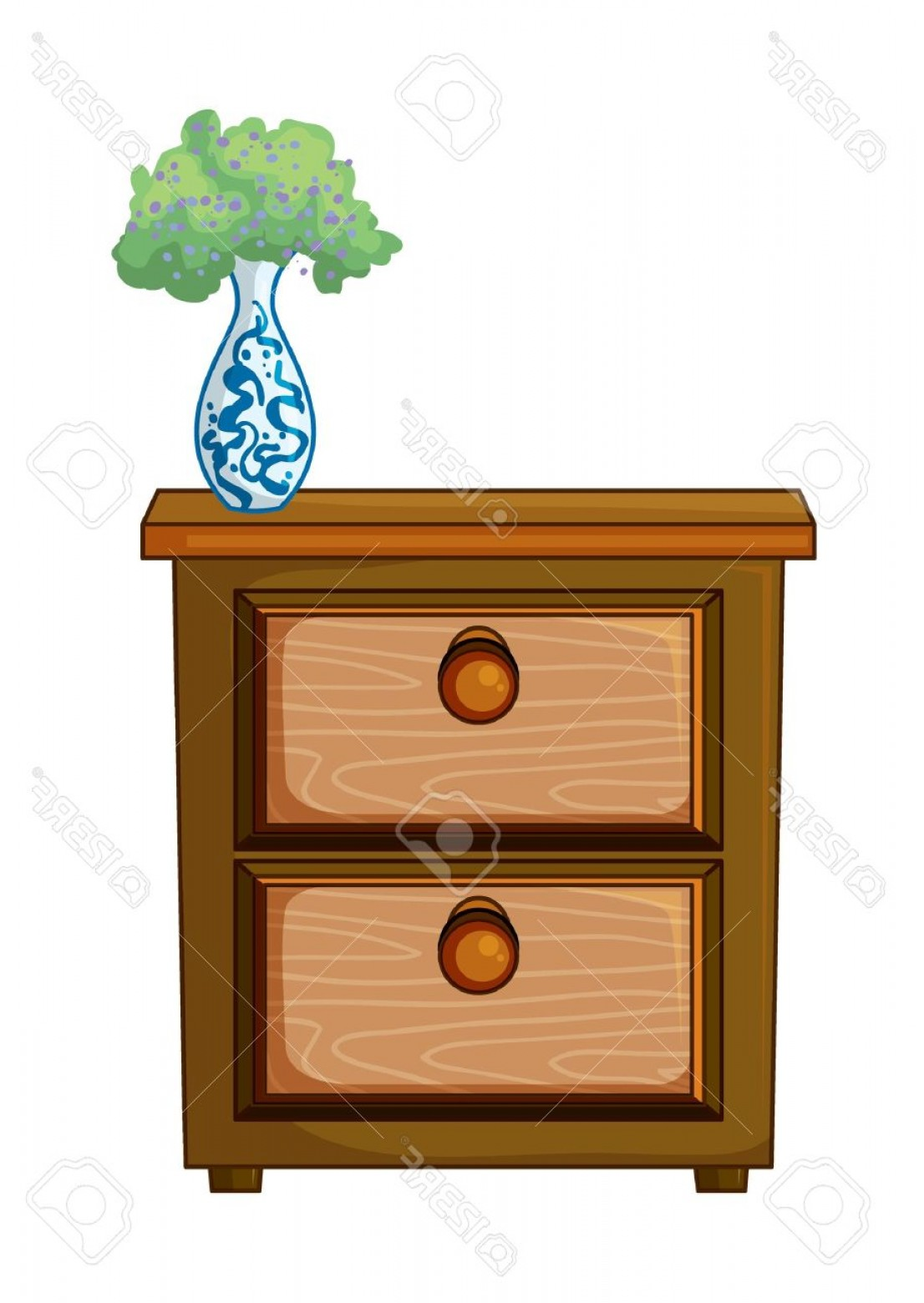D Night Stanf Vector Graphic: Photoillustration Of A Table And A Flower Pot On A White Background