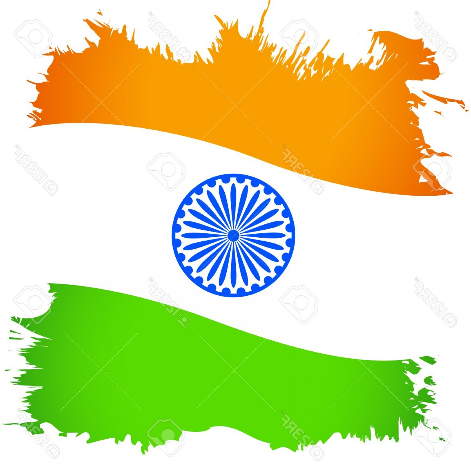 India Flag Vector: Photoillustration Of Abstract Indian Flag With Grunge