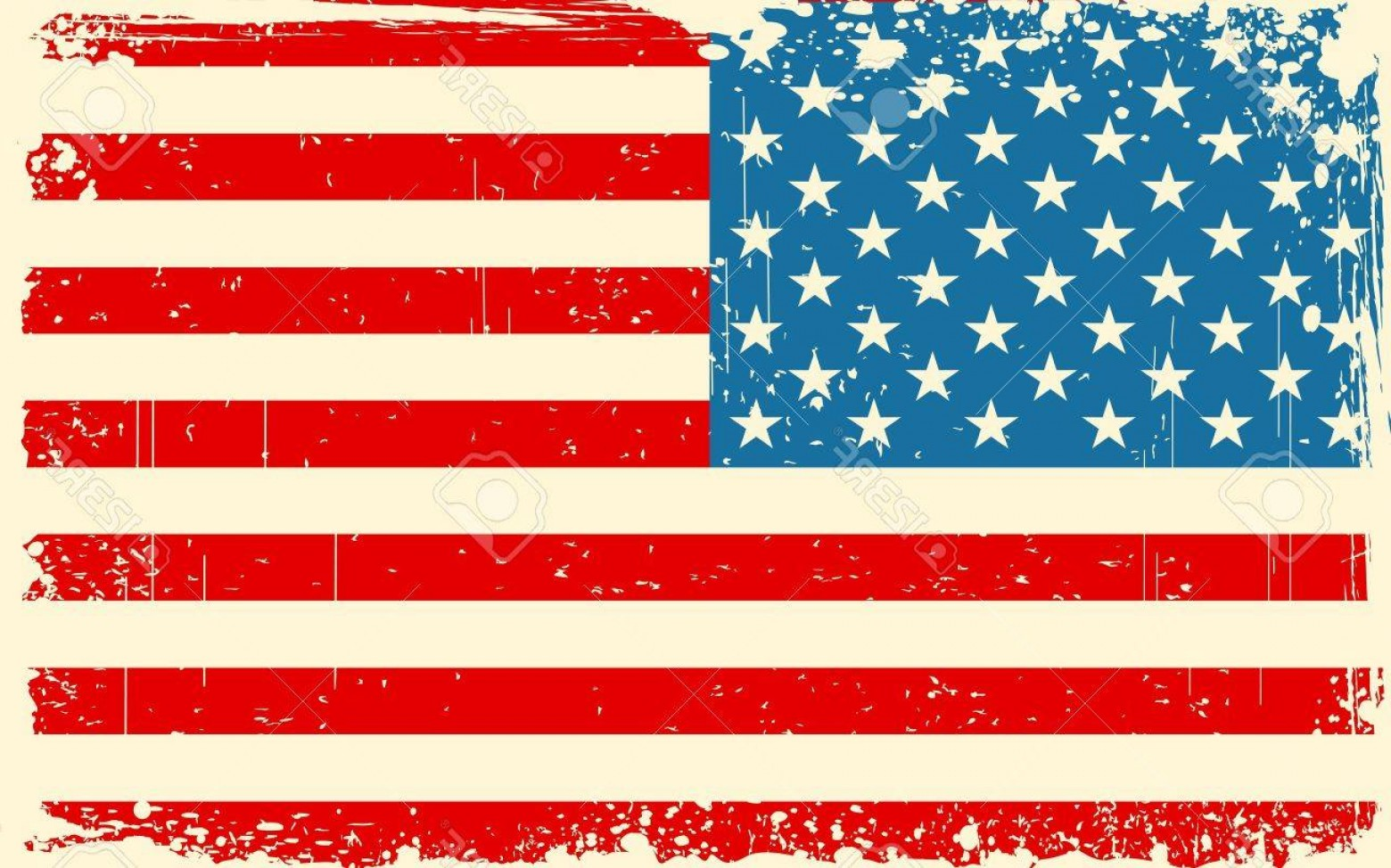 US Flag Vector Lines: Photoillustration Of American Flag With Grungy Border In Retro Color