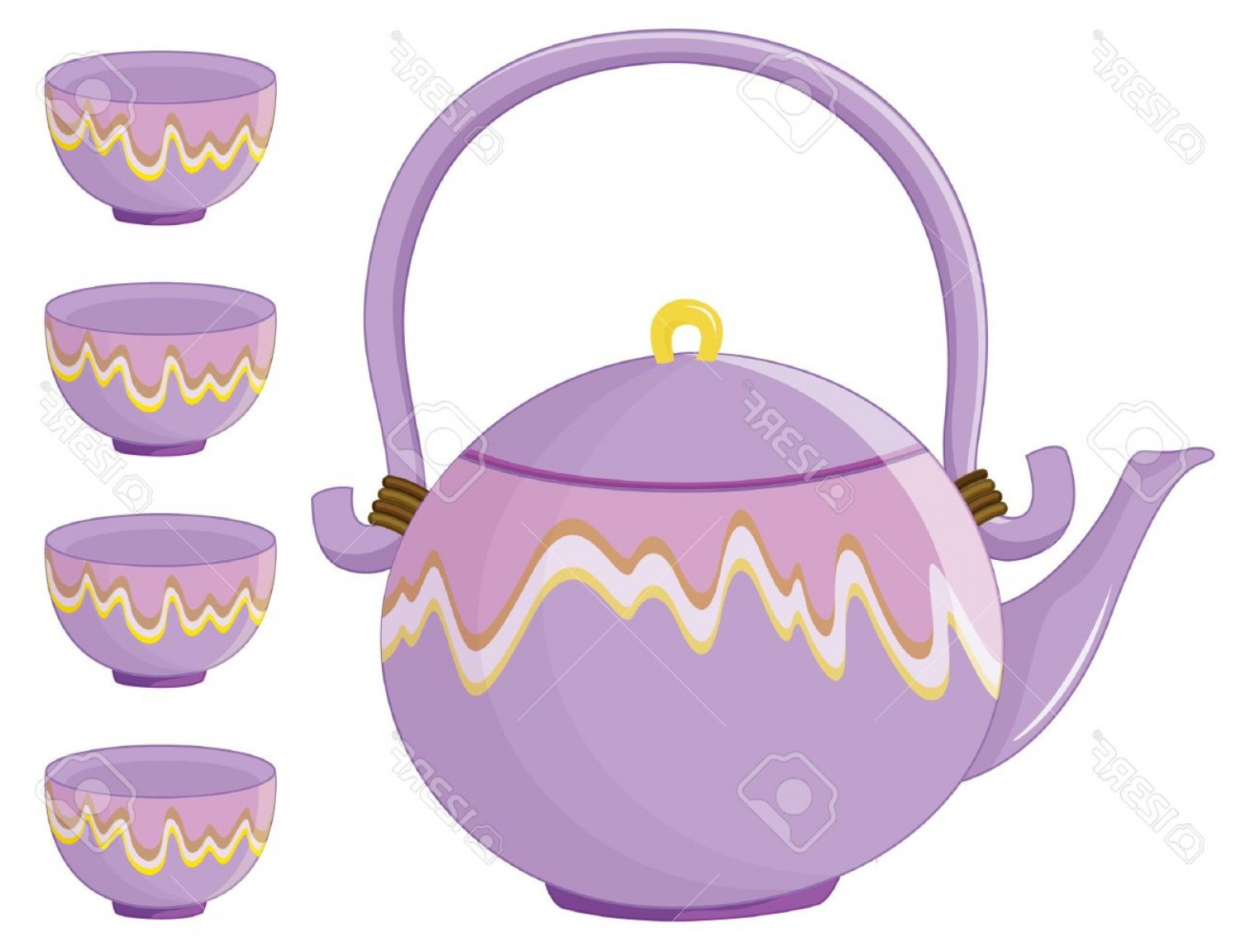 Tea Set Vector: Photoillustration Of An Asian Tea Set