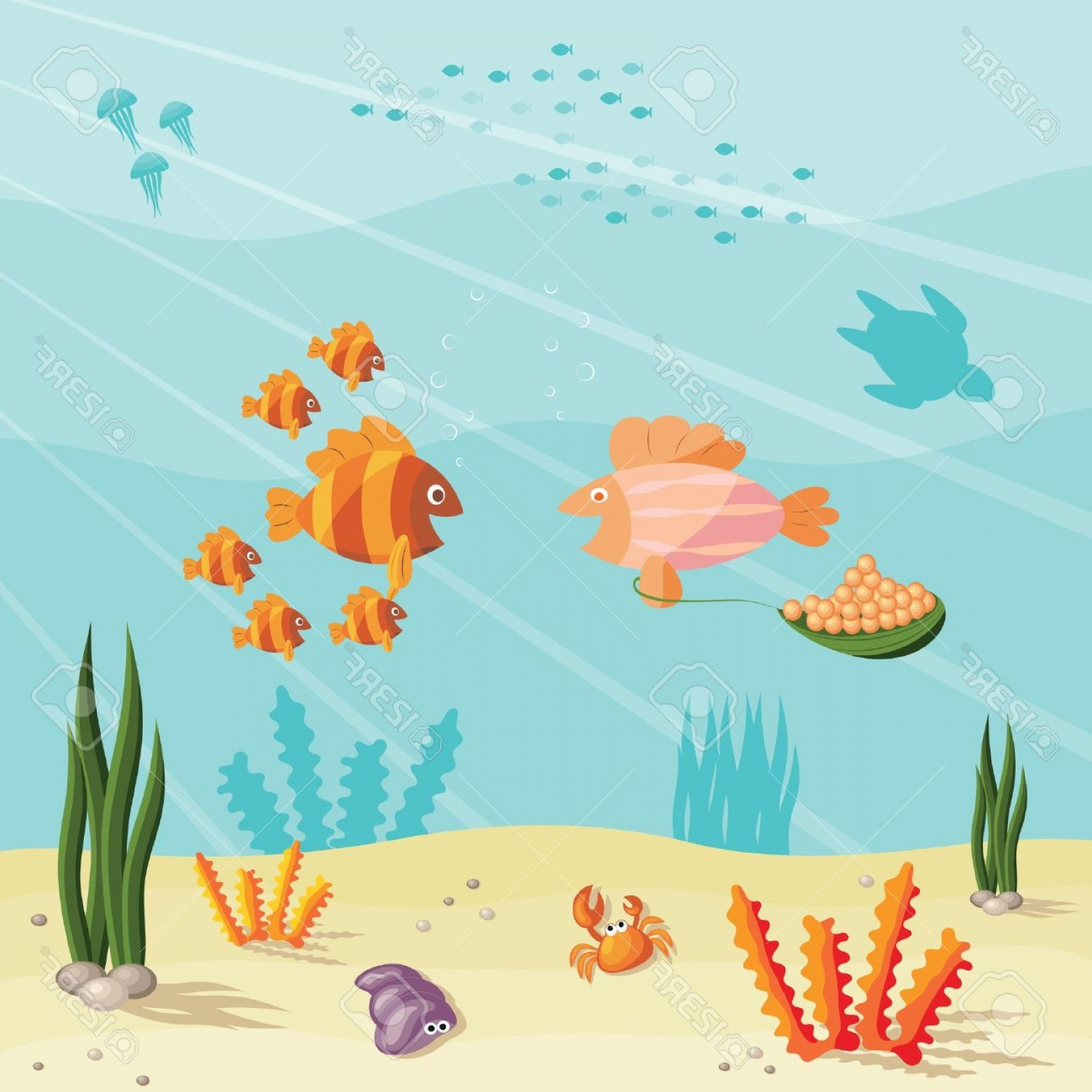 Underwater Sea Vector Art: Photoillustration Of An Underwater Ocean Scene With Small Cartoon Fishes
