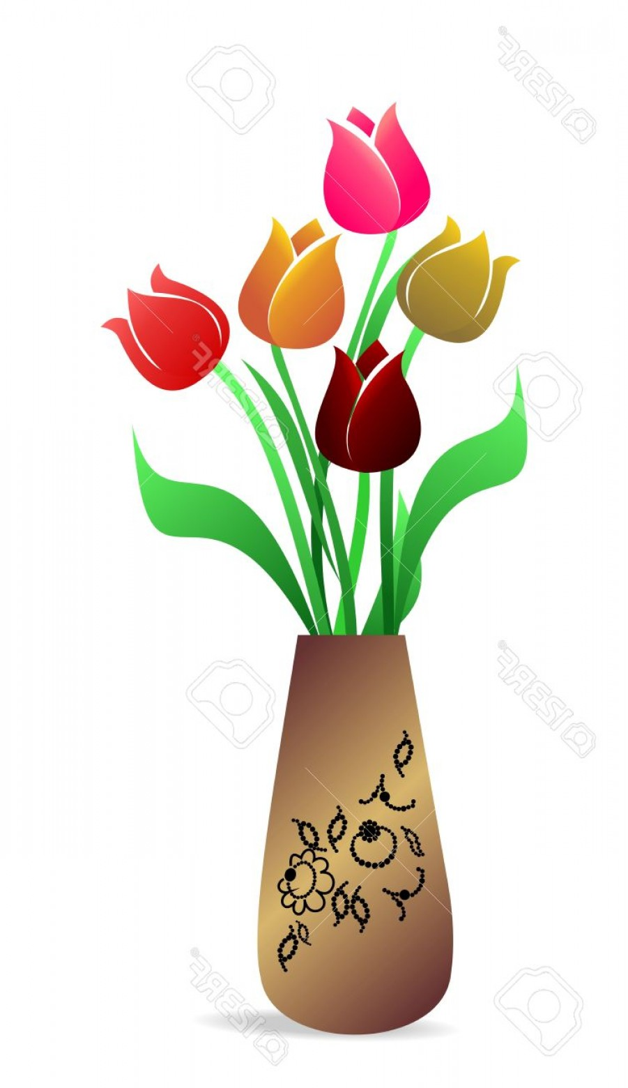Vector Art Flowers In Vace: Photoillustration Of Beautiful Vase With Tulips