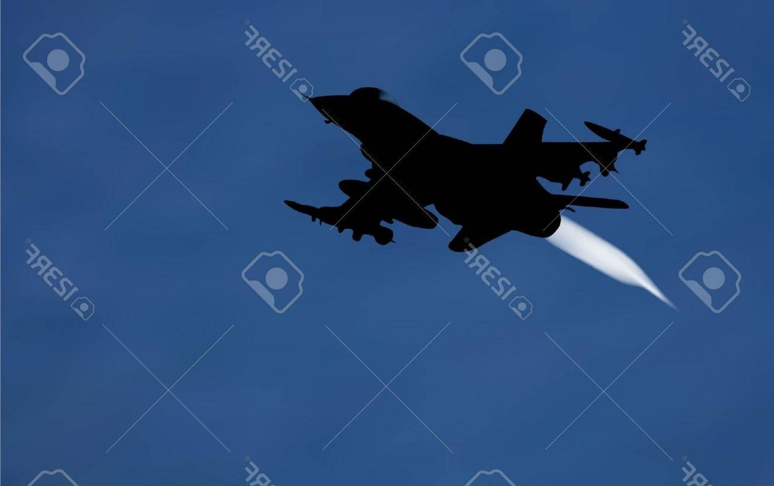 Old School Airplane Fighter Silhouette Vector: Photoillustration Of Bomber Airplane In Silhouette With A White Exhaust Gas Behind Over Night Sky