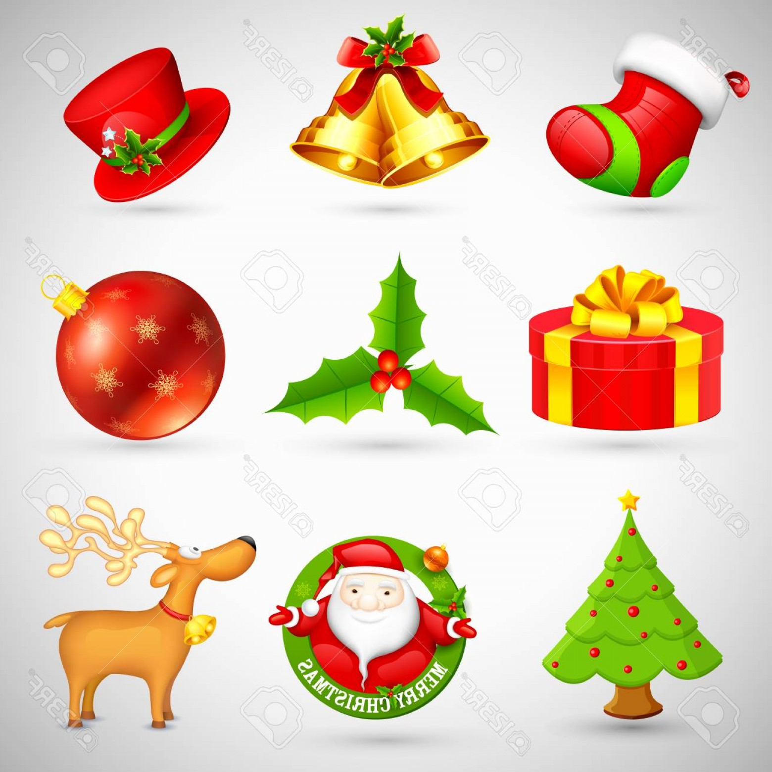Vector-Based Christmas: Photoillustration Of Collection Of Christmas Icon Based Object