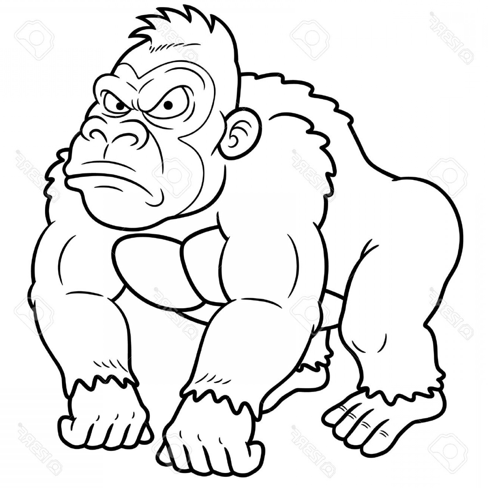 Drawings Of King Kong Vector: Photoillustration Of Gorilla Cartoon Coloring Book