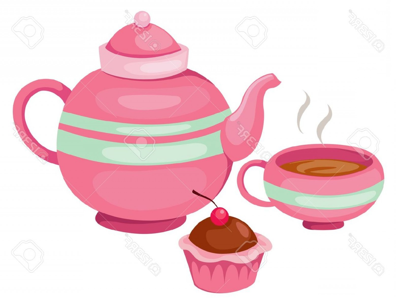 Tea Set Vector: Photoillustration Of Isolated Tea Pot Set Vector
