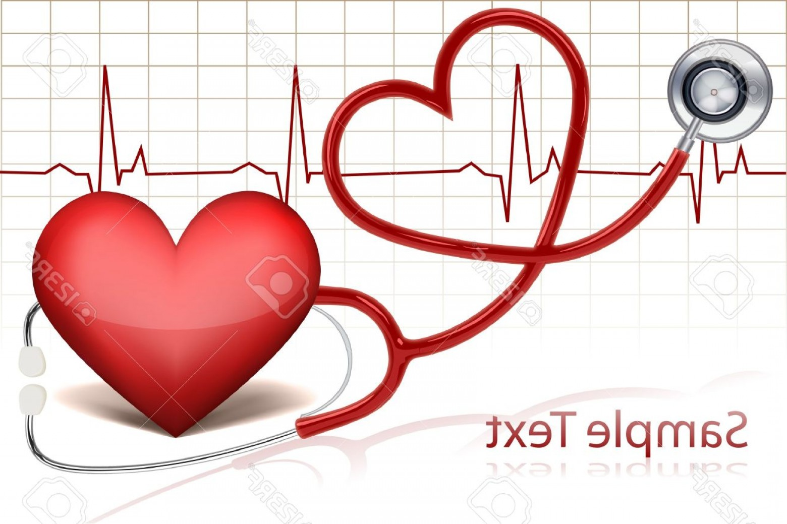 Heart Stethoscope With EKG Lines Vector: Photoillustration Of Stethoscope Around Heart With Life Line
