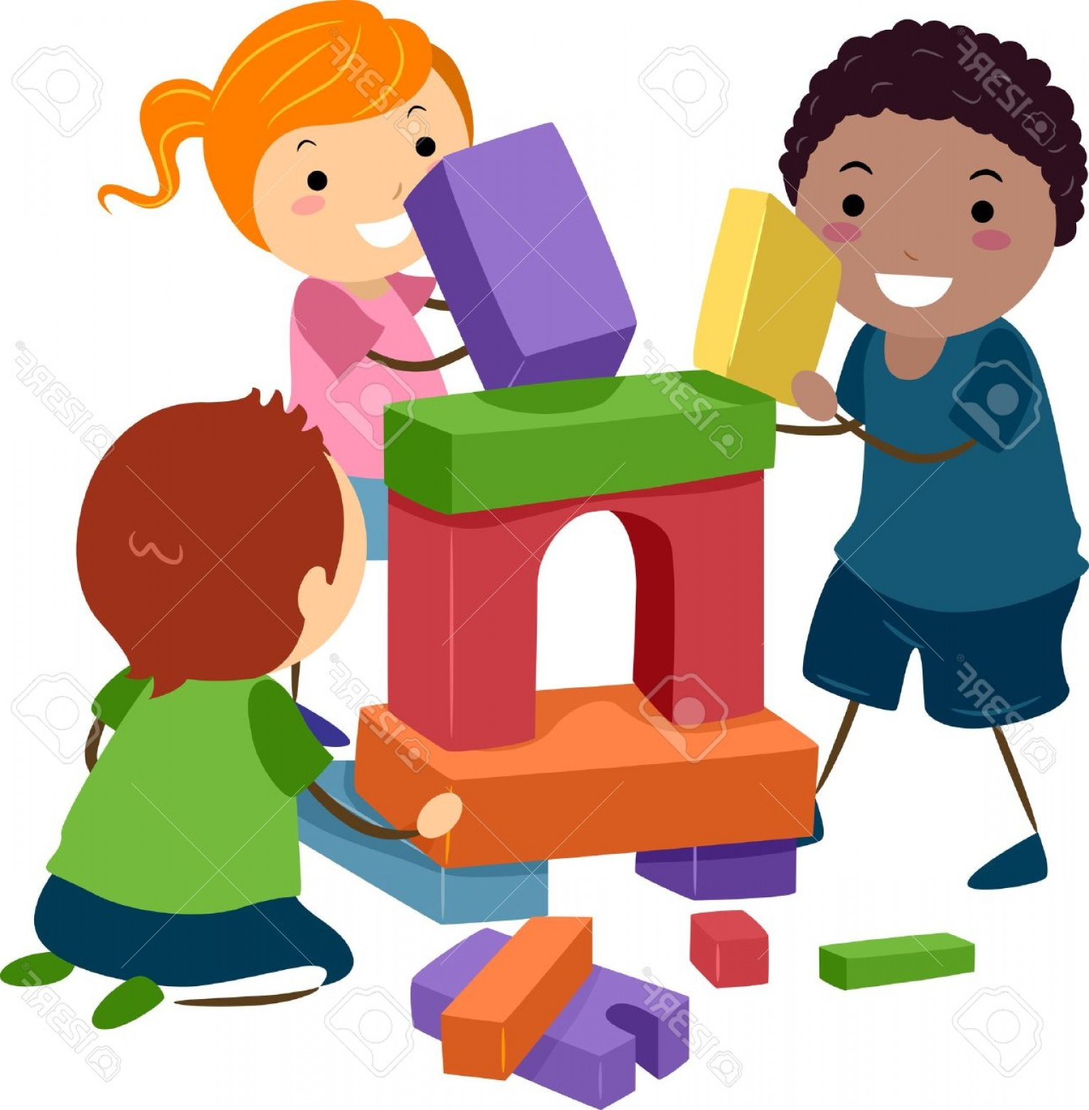 Vector Block Play: Photoillustration Of Stick Kids Playing With Building Blocks