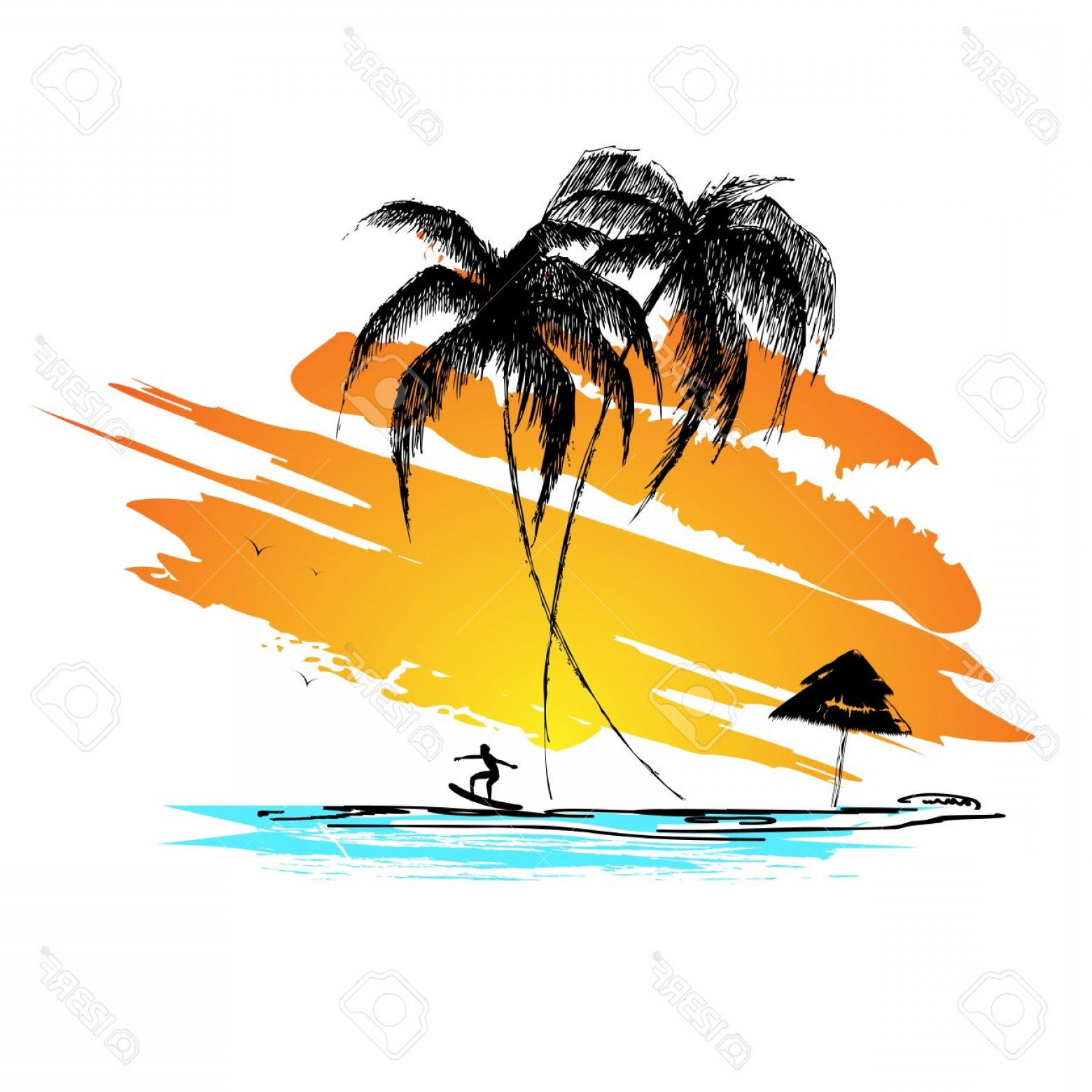 Surfer Beach Sunset Vector: Photoillustration Of Sunset View Of Sea Beach With Surfer
