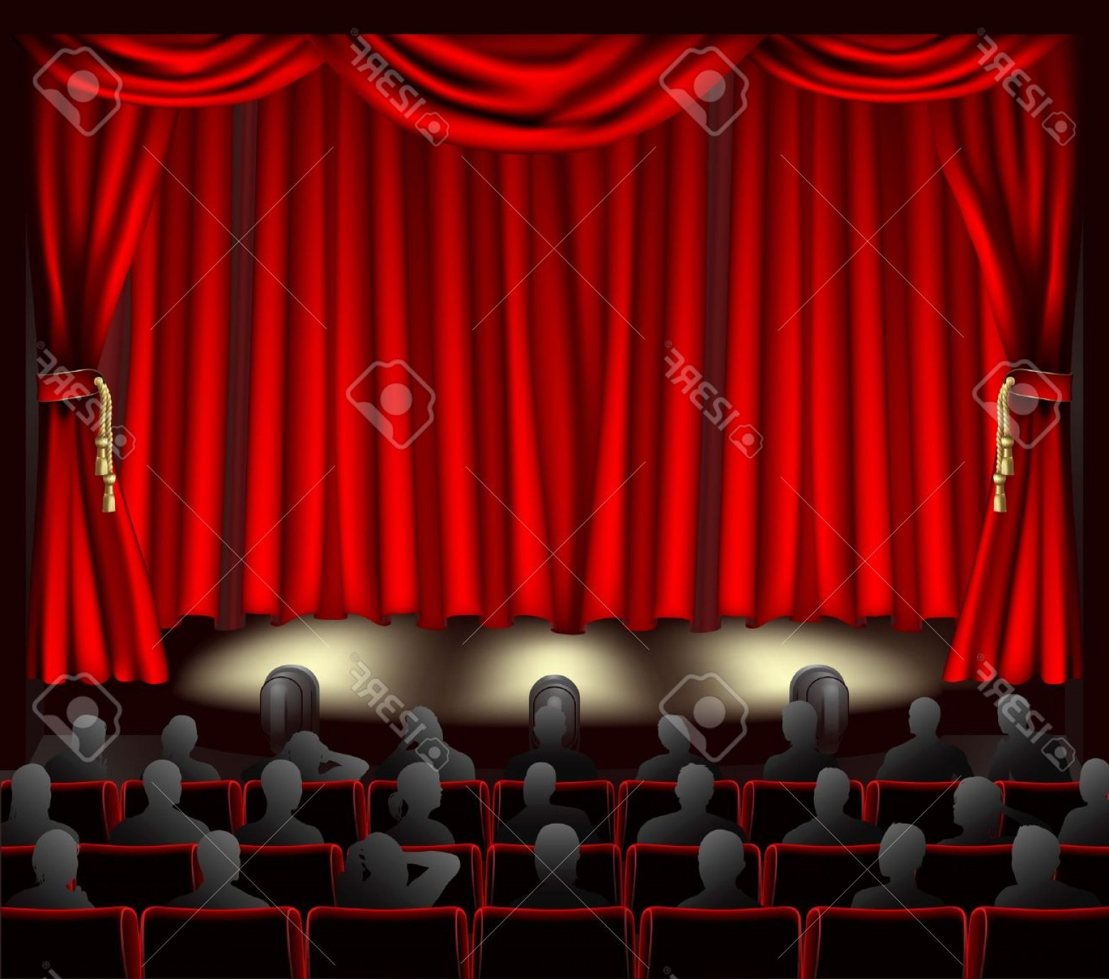 Vector Stage Audience: Photoillustration Of Theatre With Curtains And Audience