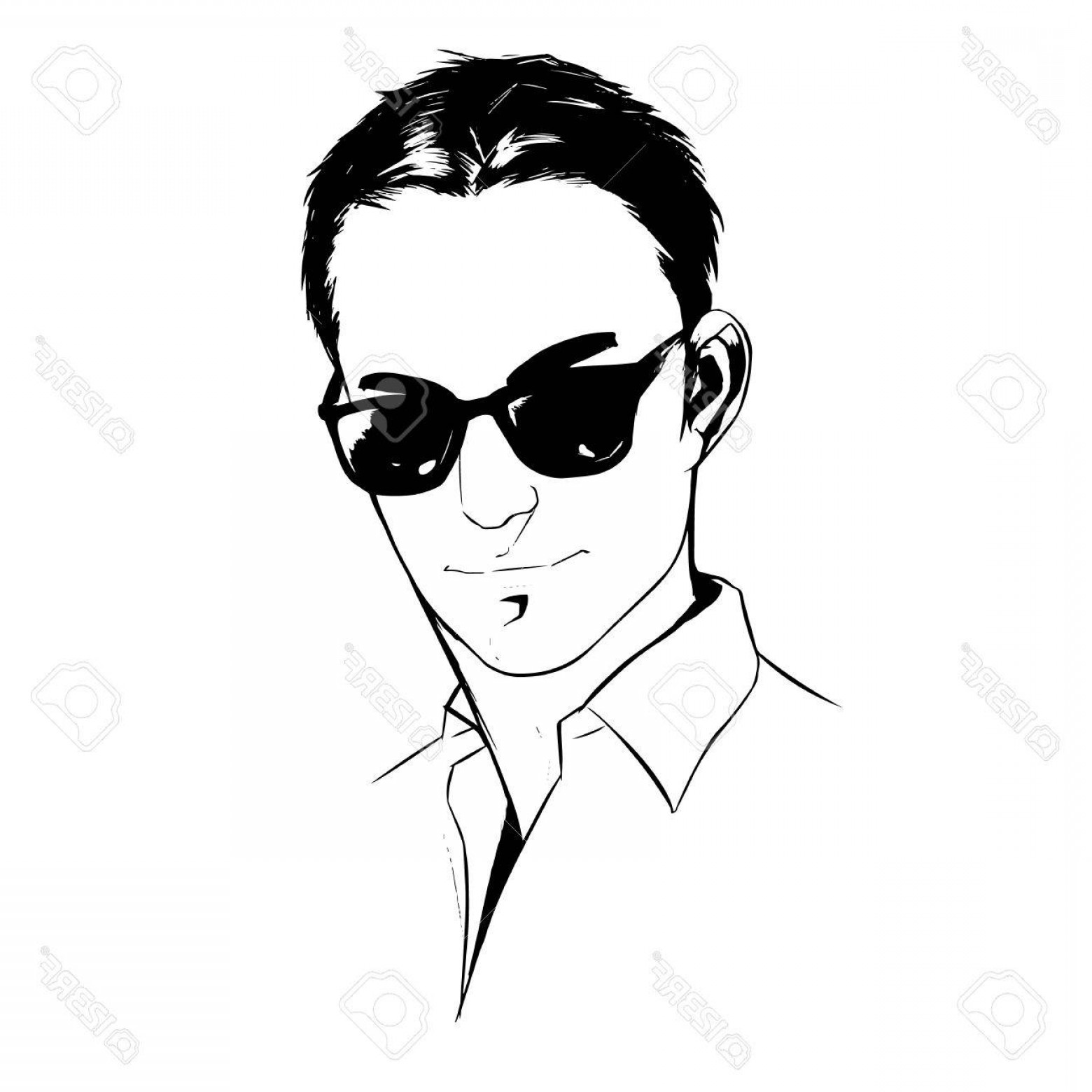 Handsome Man Vector Outline: Photoillustration Portrait Of A Handsome Young Man On White Background Graphic Vector Eps