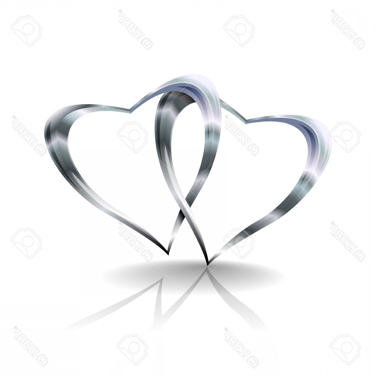Silver Heart Vector: Photoillustration Showing Two Silvers Hearts Joined Together Transparencies Used In Multiply Darken And O