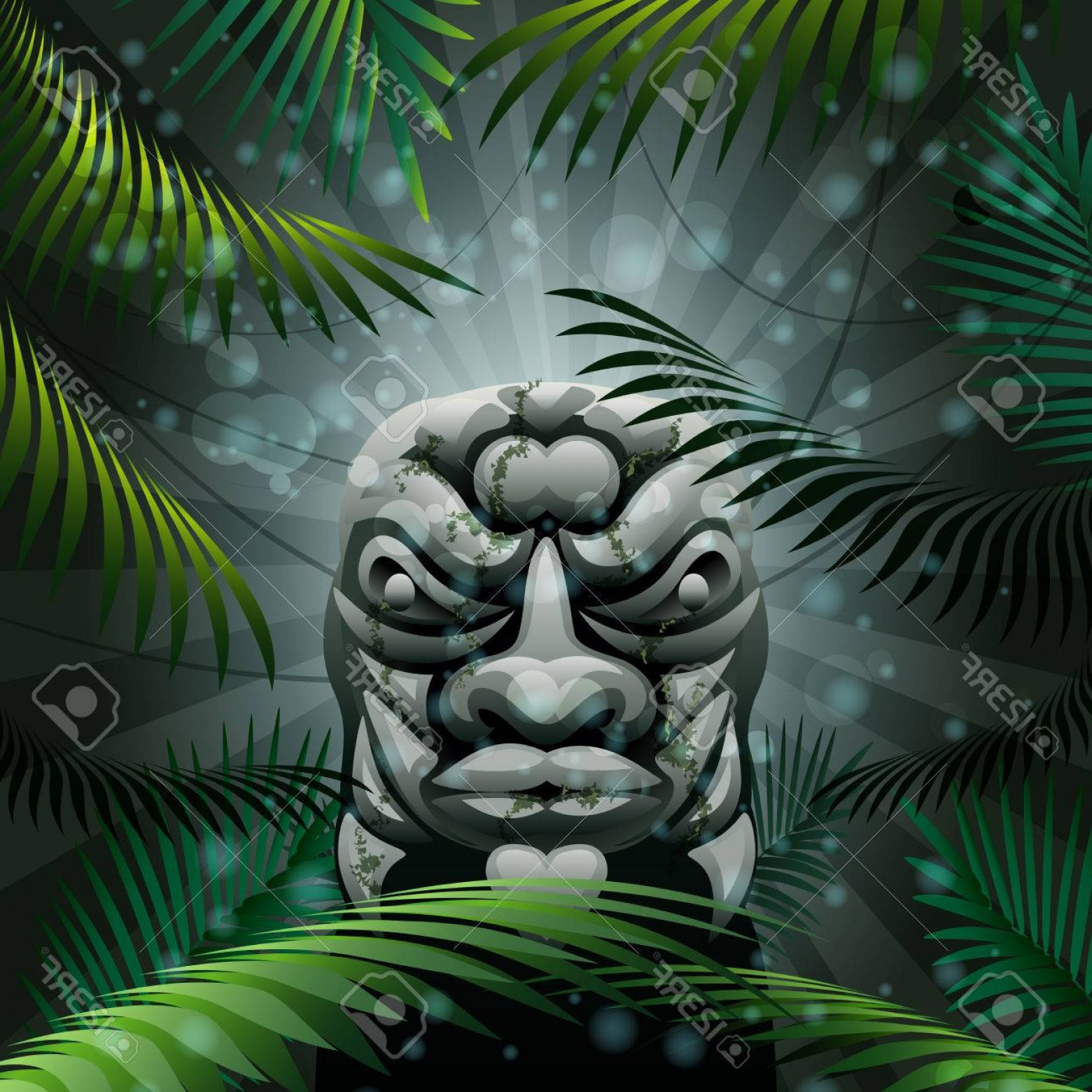 Ancient Jungle Statue Vector Images: Photoillustration With Ancient Stone Idol Hidden Deep In A Jungle Forest