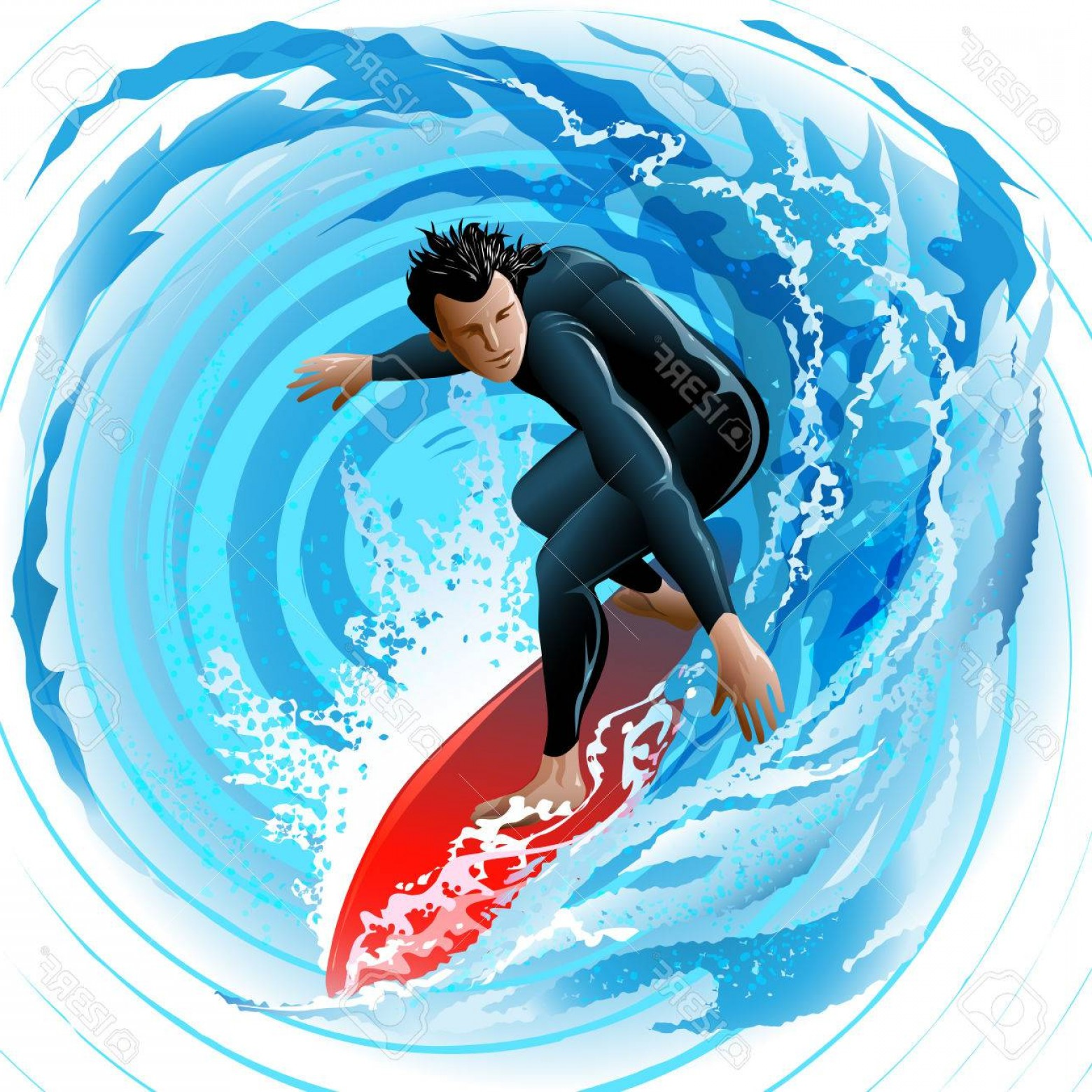 Waves With Surfer Silhouette Vector: Photoillustration With Young Man Sliding On A Surf Board On Water Surface Against Huge Waves