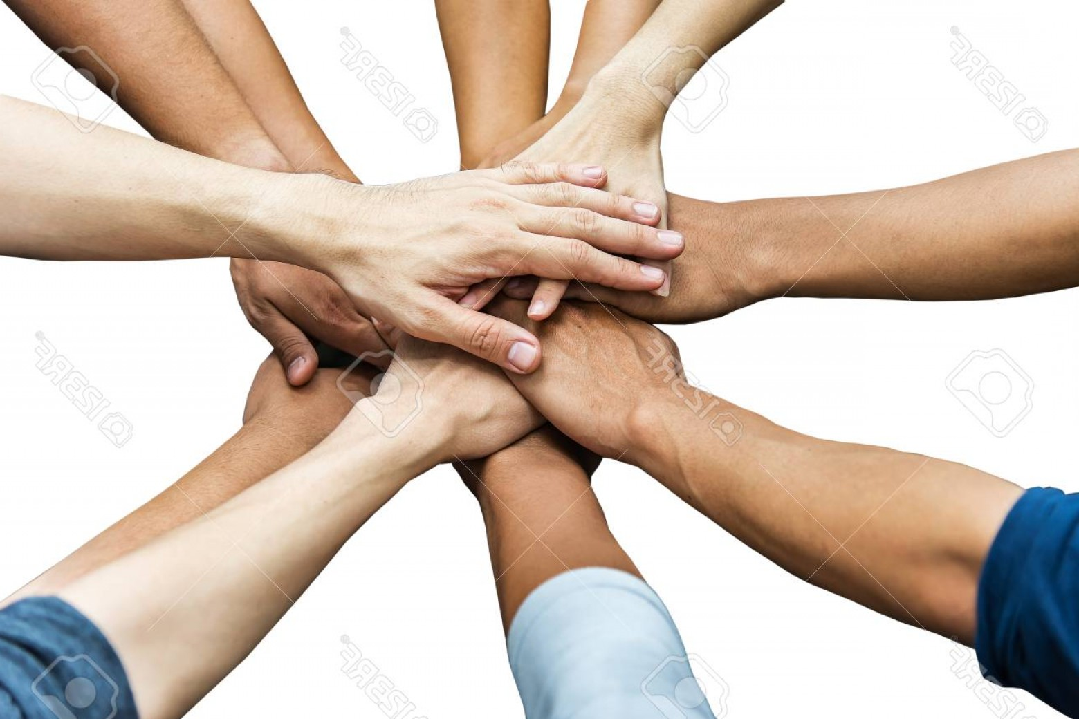 Vector Group Of Hands Overlapped: Photoimage Of Group Of Overlapping Hands Against White Background