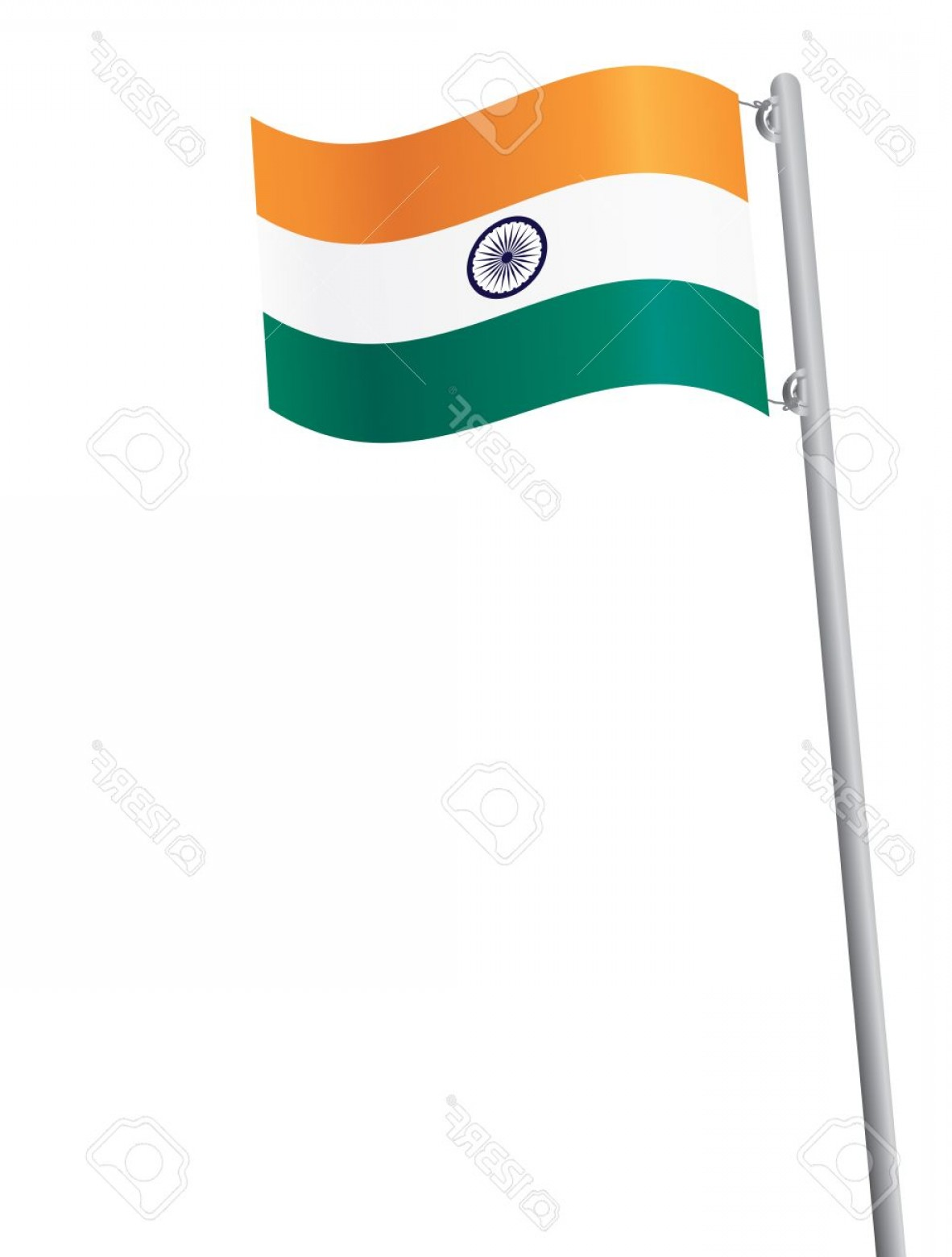India Flag Vector: Photoindian Flag On Flagstaff Isolated On White Vector Illustration