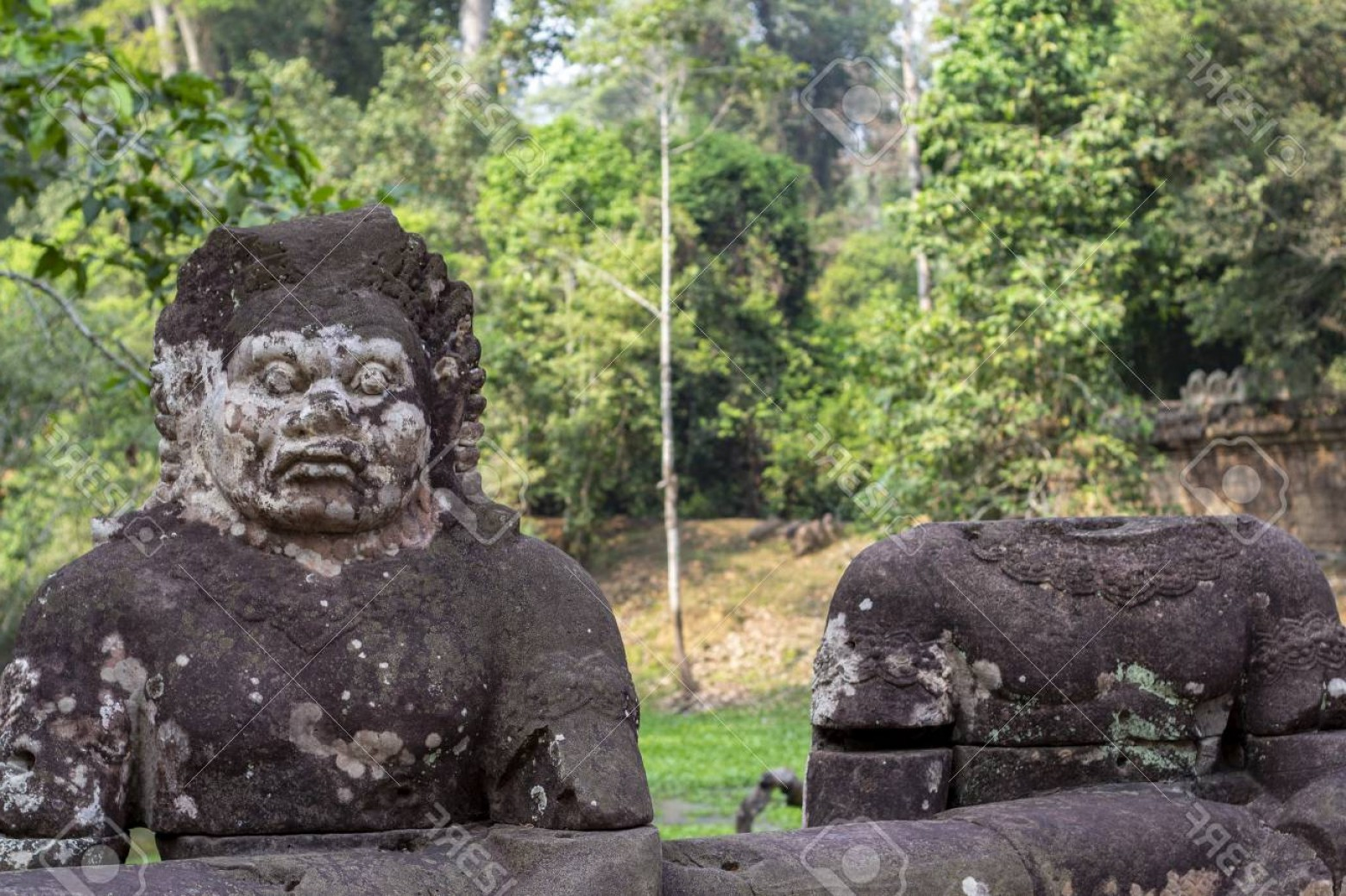 Ancient Jungle Statue Vector Images: Photokhmer Man Mossy Stone Statue Angkor Wat Temple Cambodia Whole And Headless Human Statue Ancient Temp