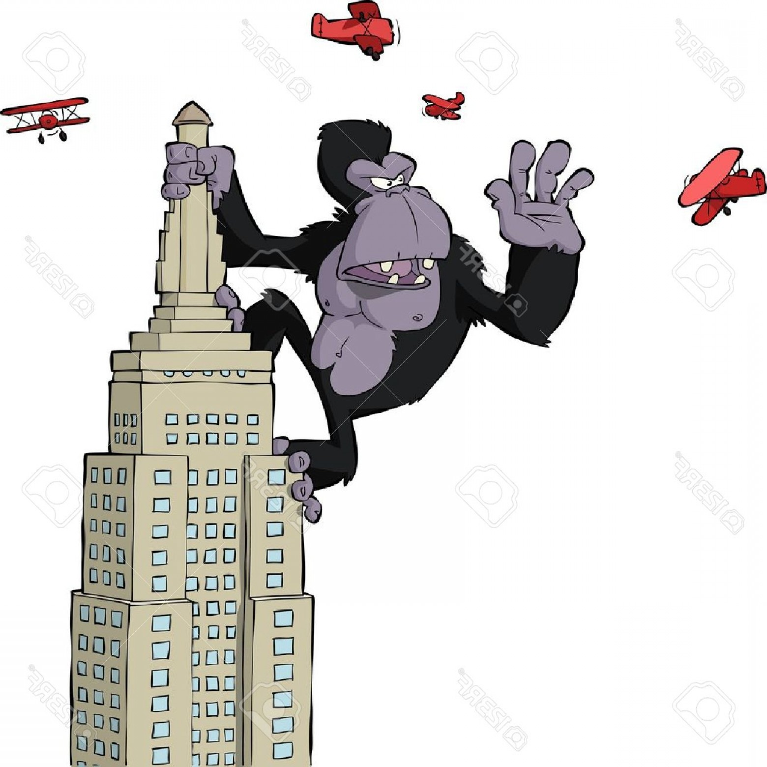 Drawings Of King Kong Vector: Photoking Kong On A Skyscraper Vector Illustration