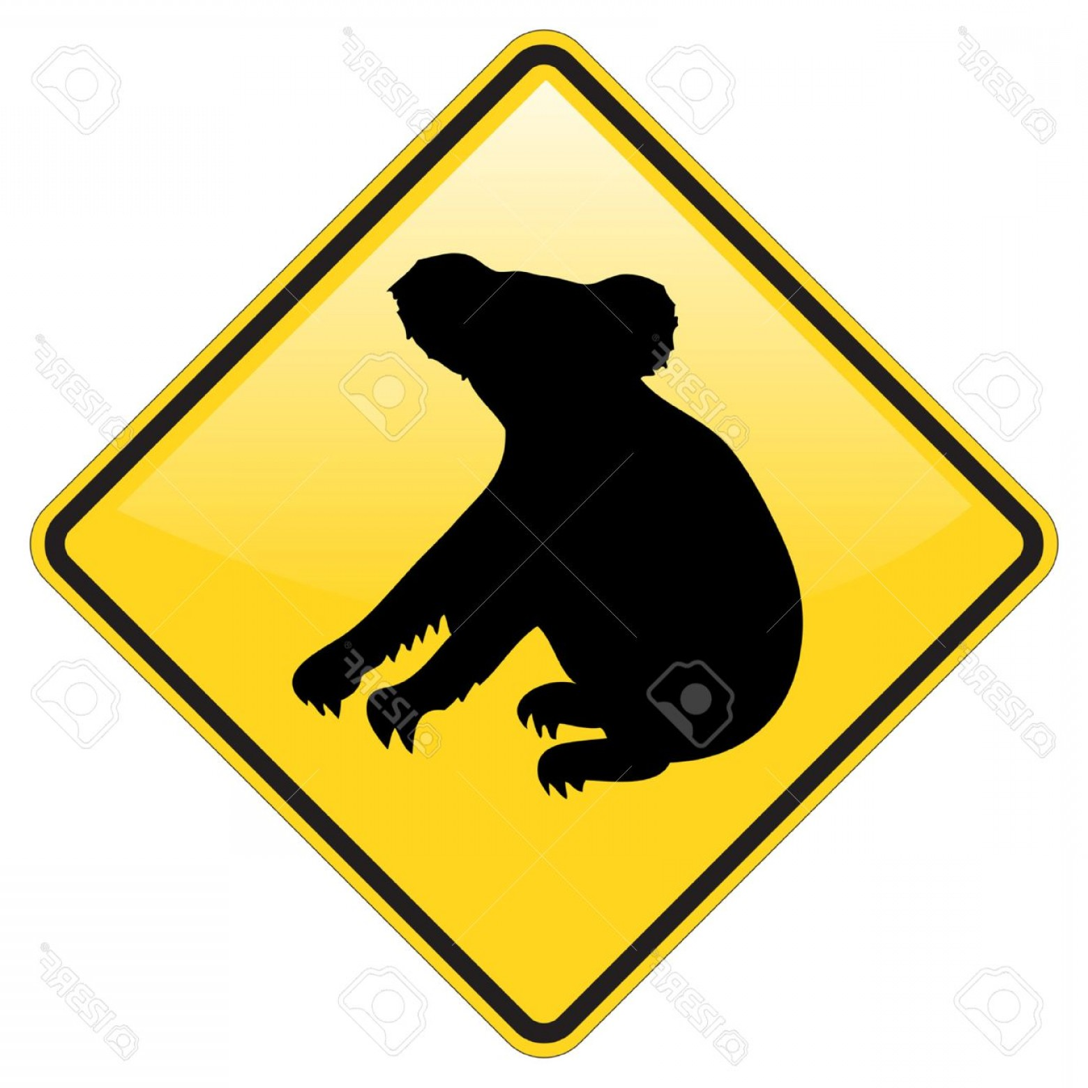 Road Sign Silhouette Vector Bear: Photokoala Warning Sign With Glossy Effect