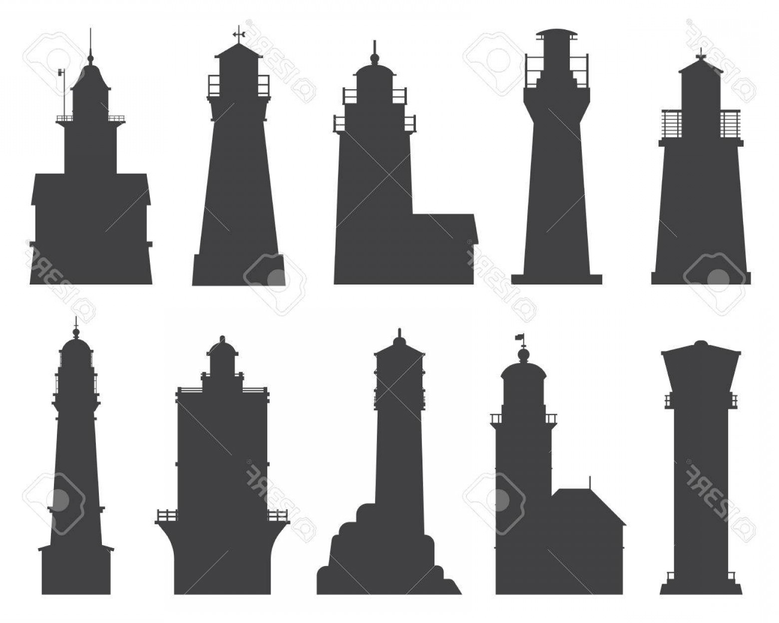 Lighthouse Beacon Silhouette Vector: Photolighthouse Silhouette Set Different Sea Guiding Light Houses Buildings Sea Pharos Or Beacon Collecti