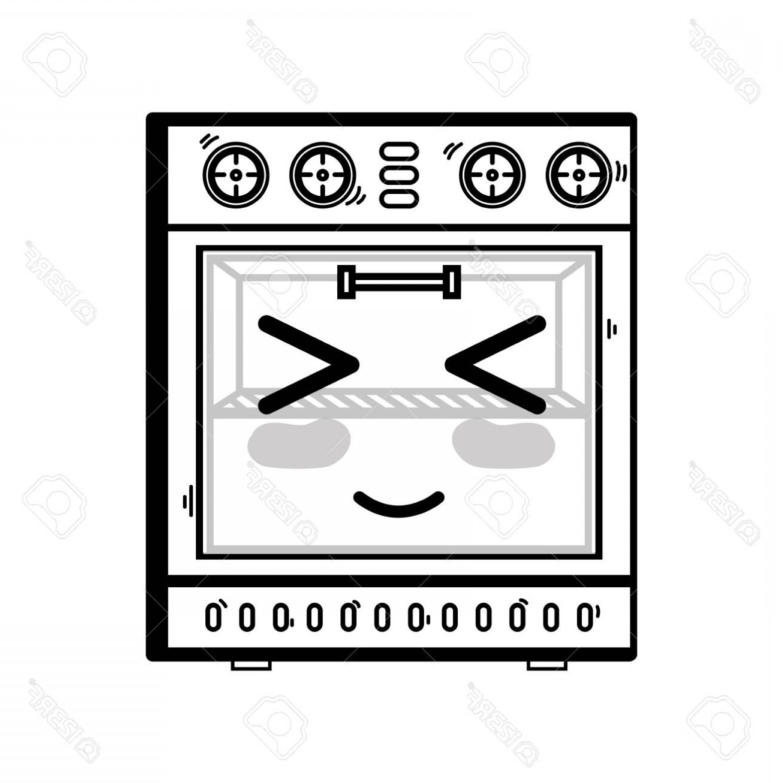 Happy Oven Vector: Photoline Cute Happy Oven Technology Vector Illustration