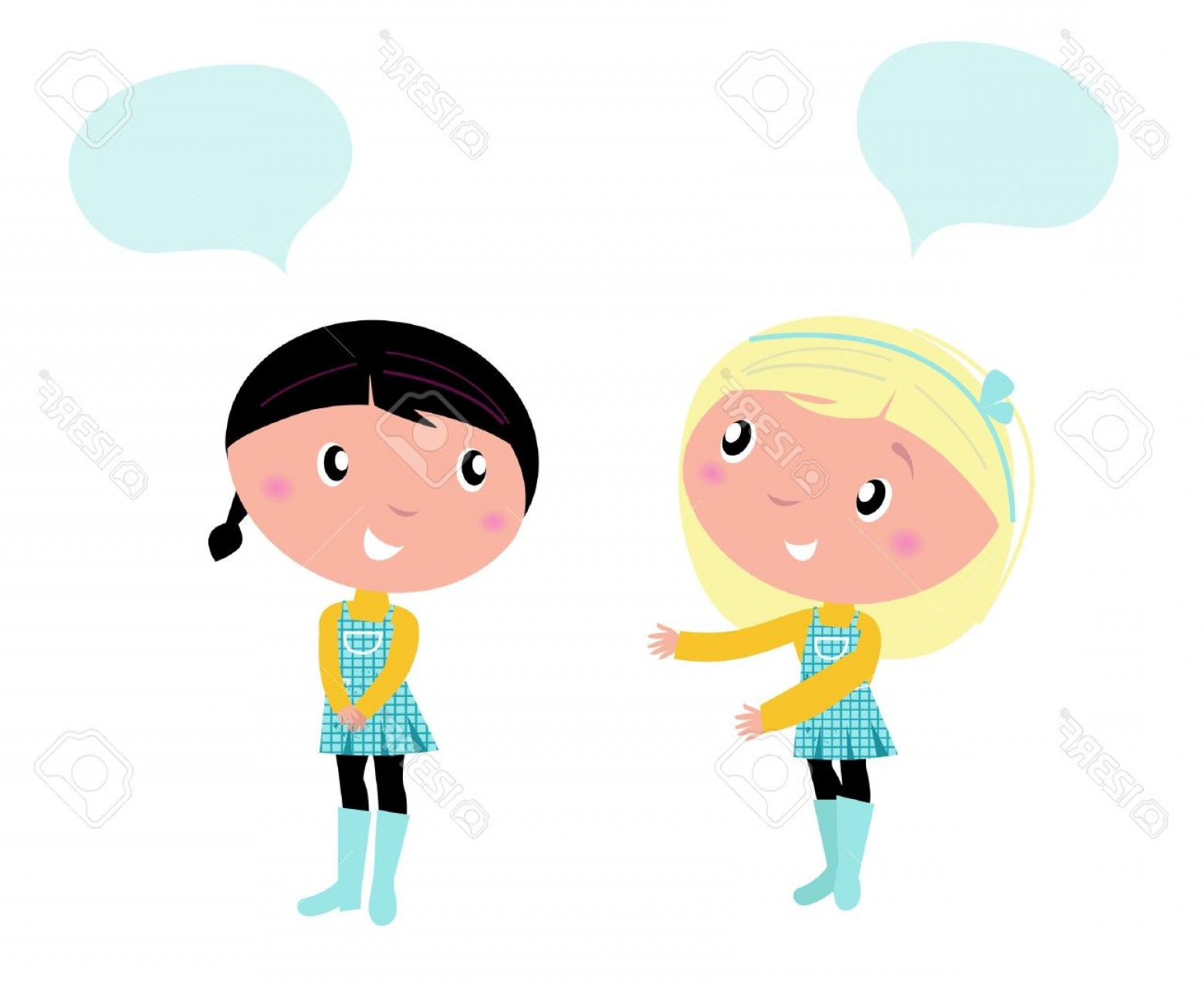 Two People Talking Vector Art: Photolittle Girls Isolated On White Background