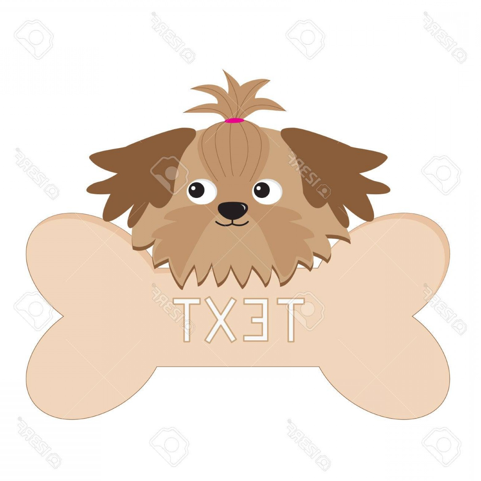 Shih Tzu Clipart-Vector: Photolittle Glamour Tan Shih Tzu Dogs Head And Big Bone Isolated Vector Illustration