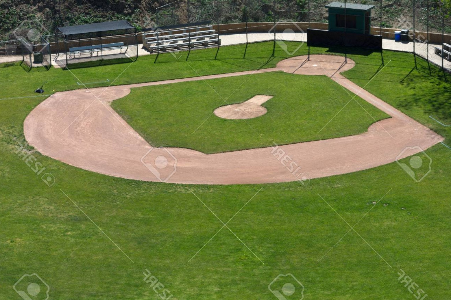 Little League Baseball Vector Logo No Text: Photolittle League Baseball Field With Green Grass And Dirt