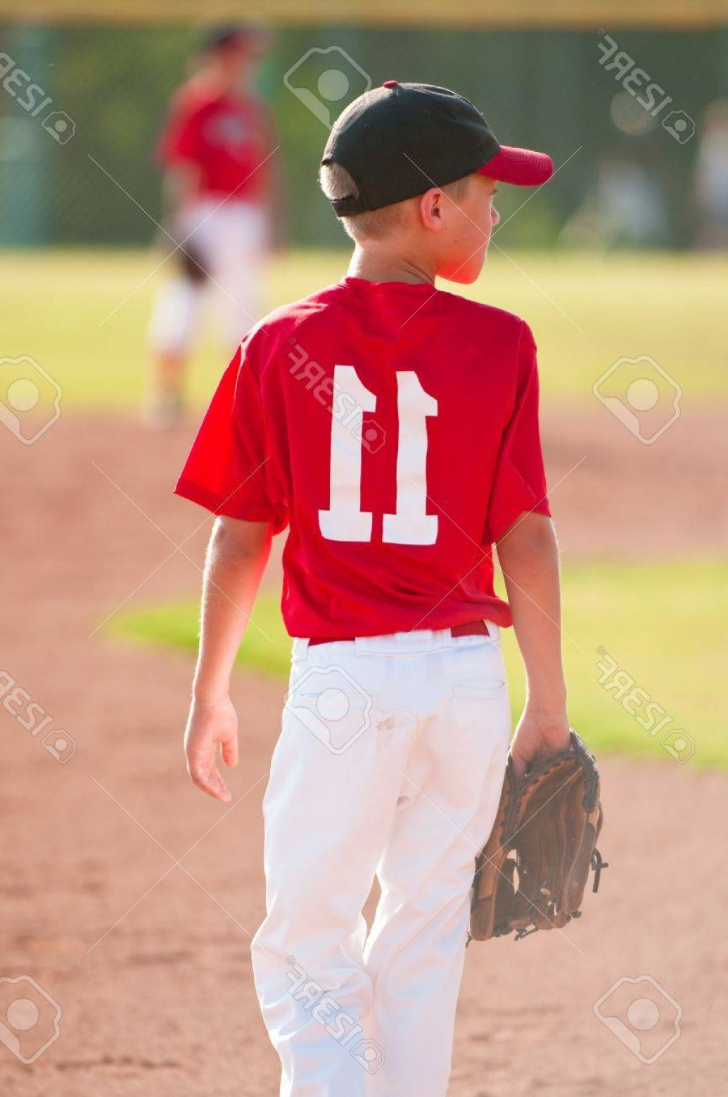 Little League Baseball Vector Logo No Text: Photolittle League Baseball Player From Behind