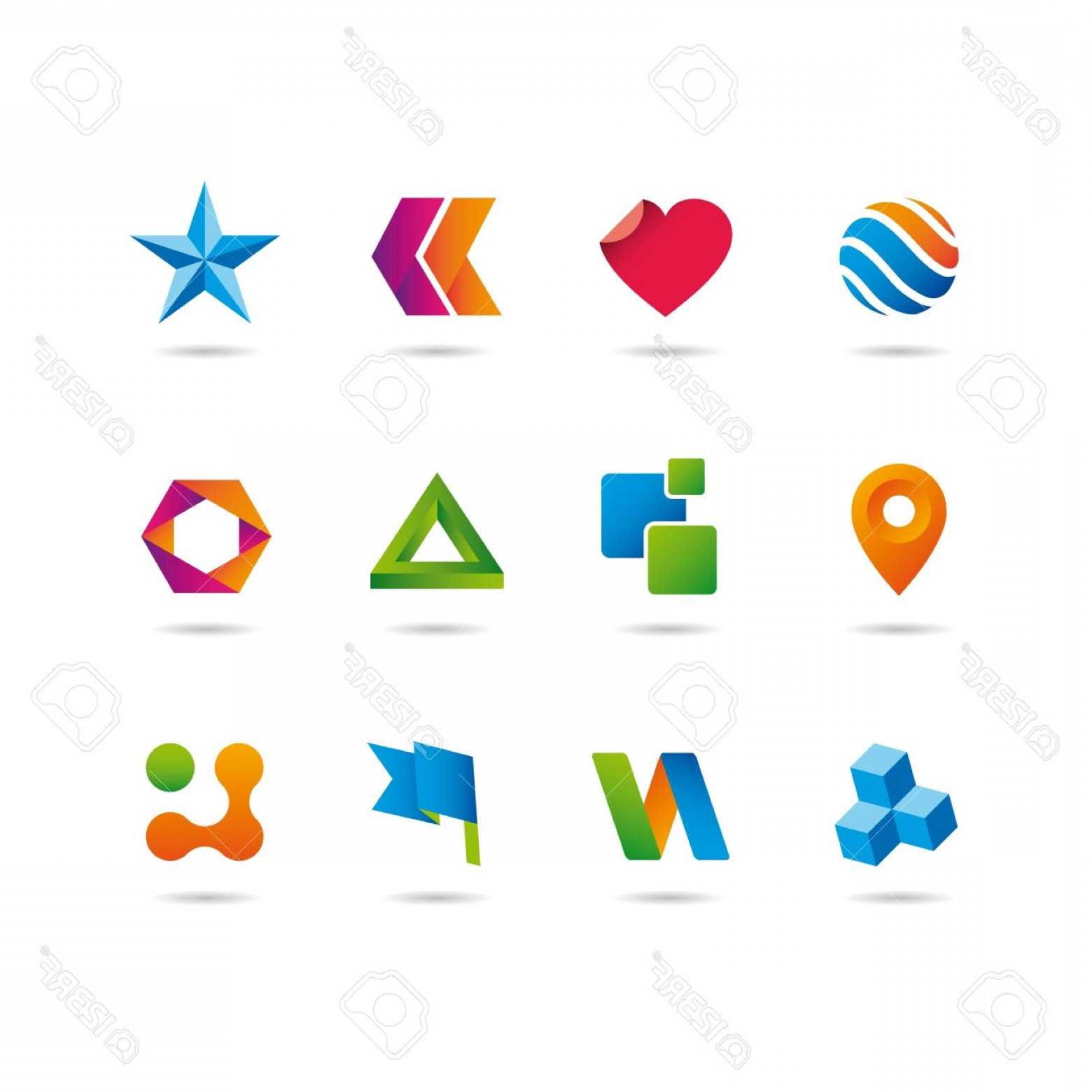 Vectors Heart And Star: Photologo And Icons Set Heart Arrows Star Sphere Cube Ribbon And Flag
