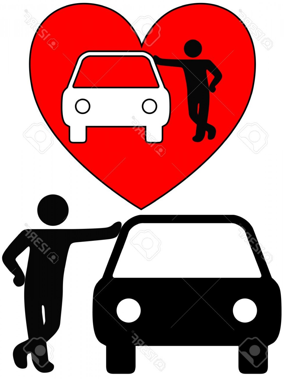 Cars Skyline Vector: Photolove The Car A Symbol Person As A Loving Car Owner Leans On A Car Or A Silhouette Of A Dealer Or Mec