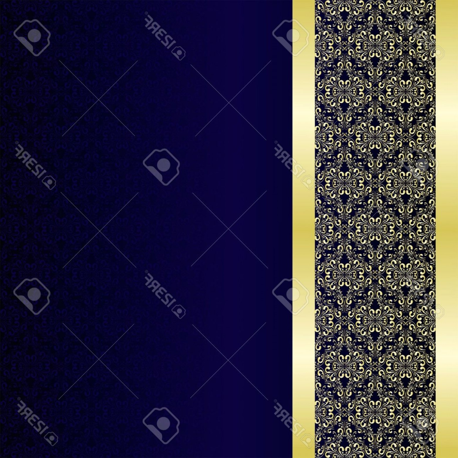 Blue And Gold Border Vector: Photoluxury Background Decorated A Golden Border