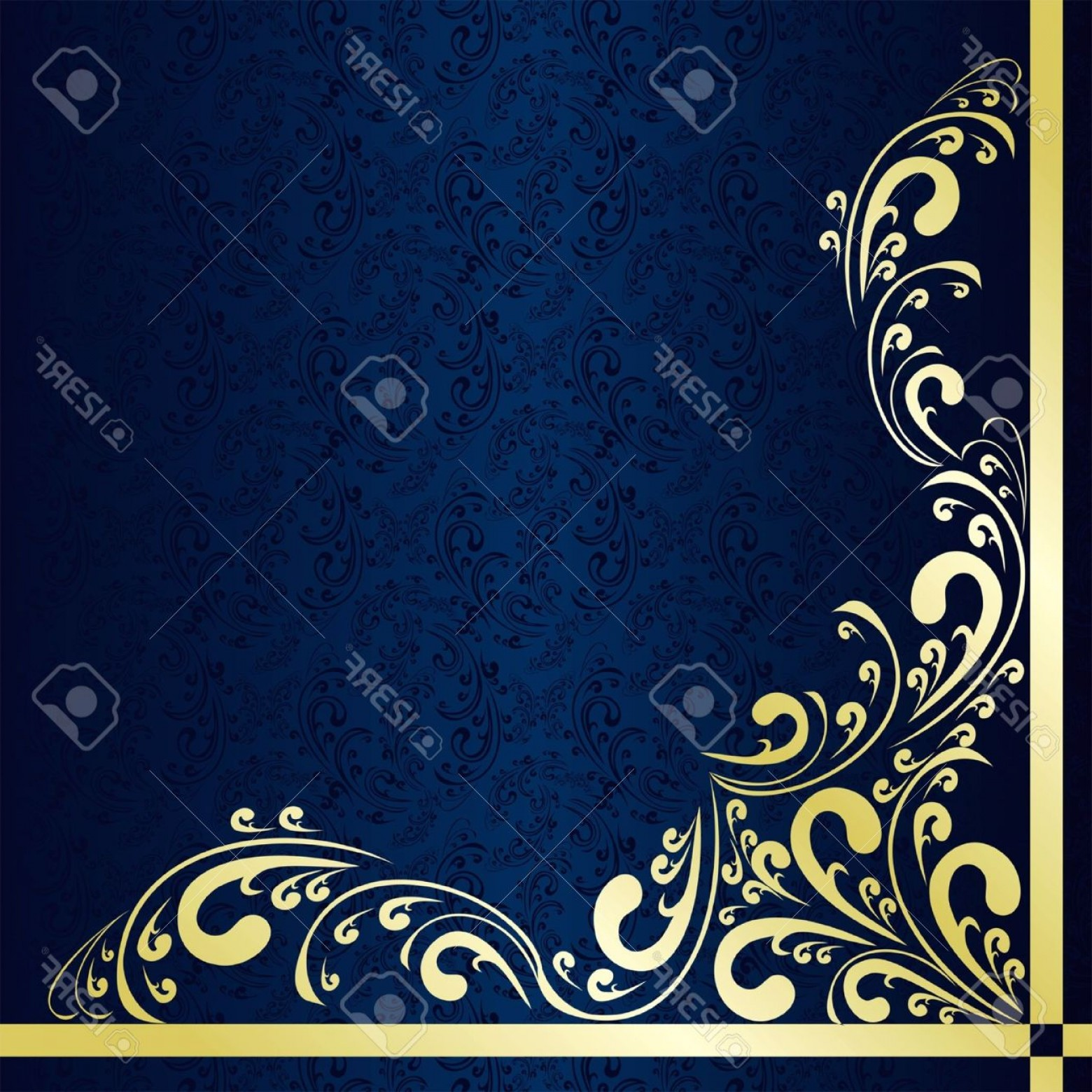 Blue And Gold Border Vector: Photoluxury Dark Blue Background Decorated A Gold Border