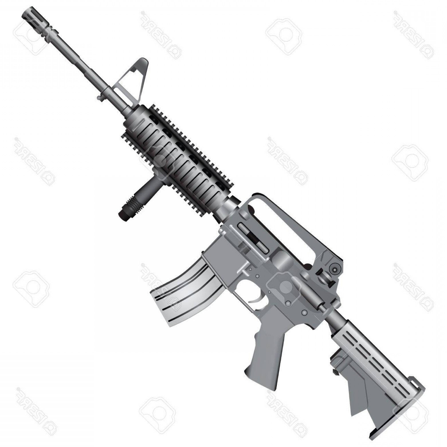 M4 Gun Vector: Photom Carbine Is Armed With The U S Army